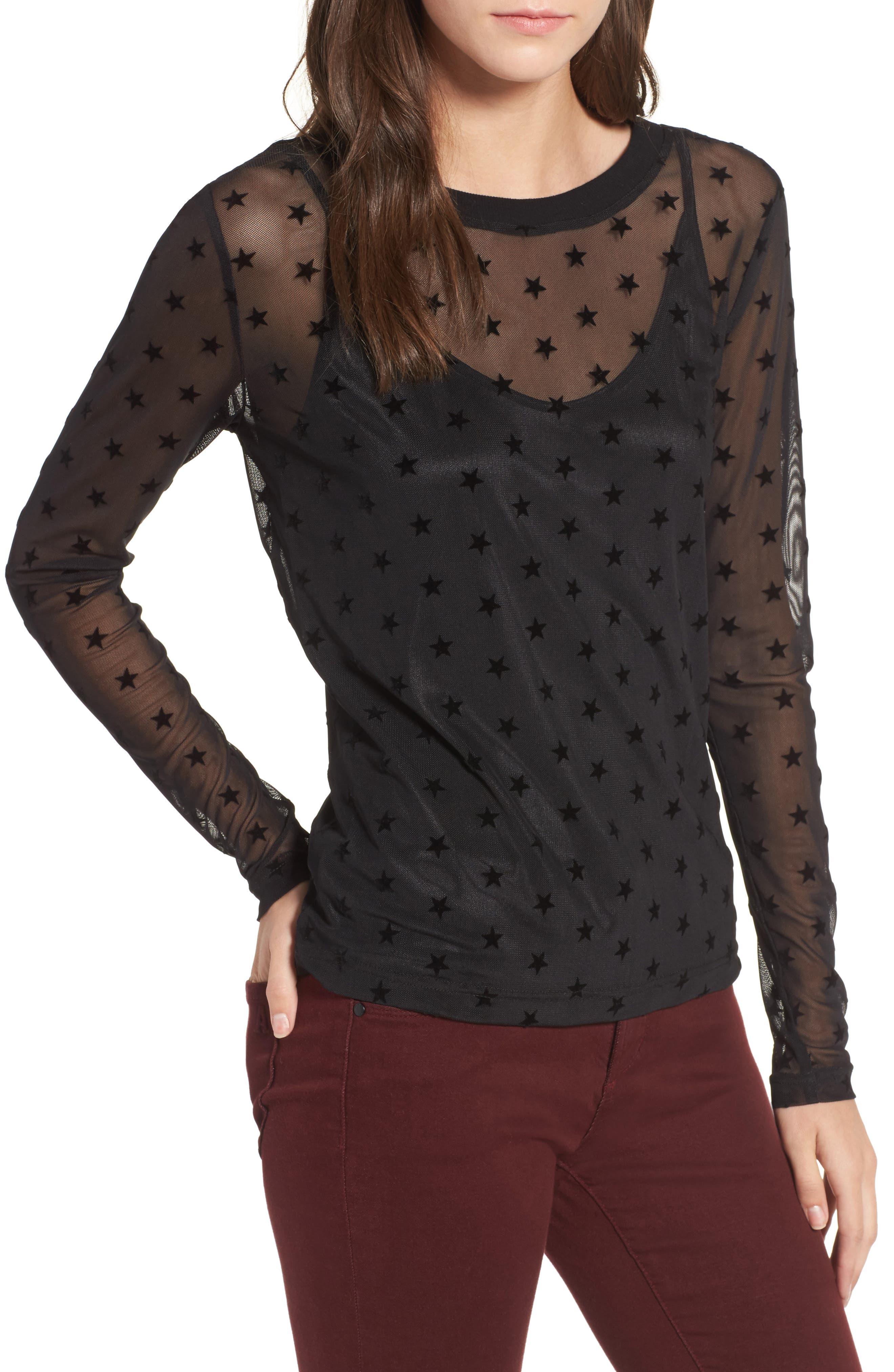 Star Mesh Top,                         Main,                         color, Black