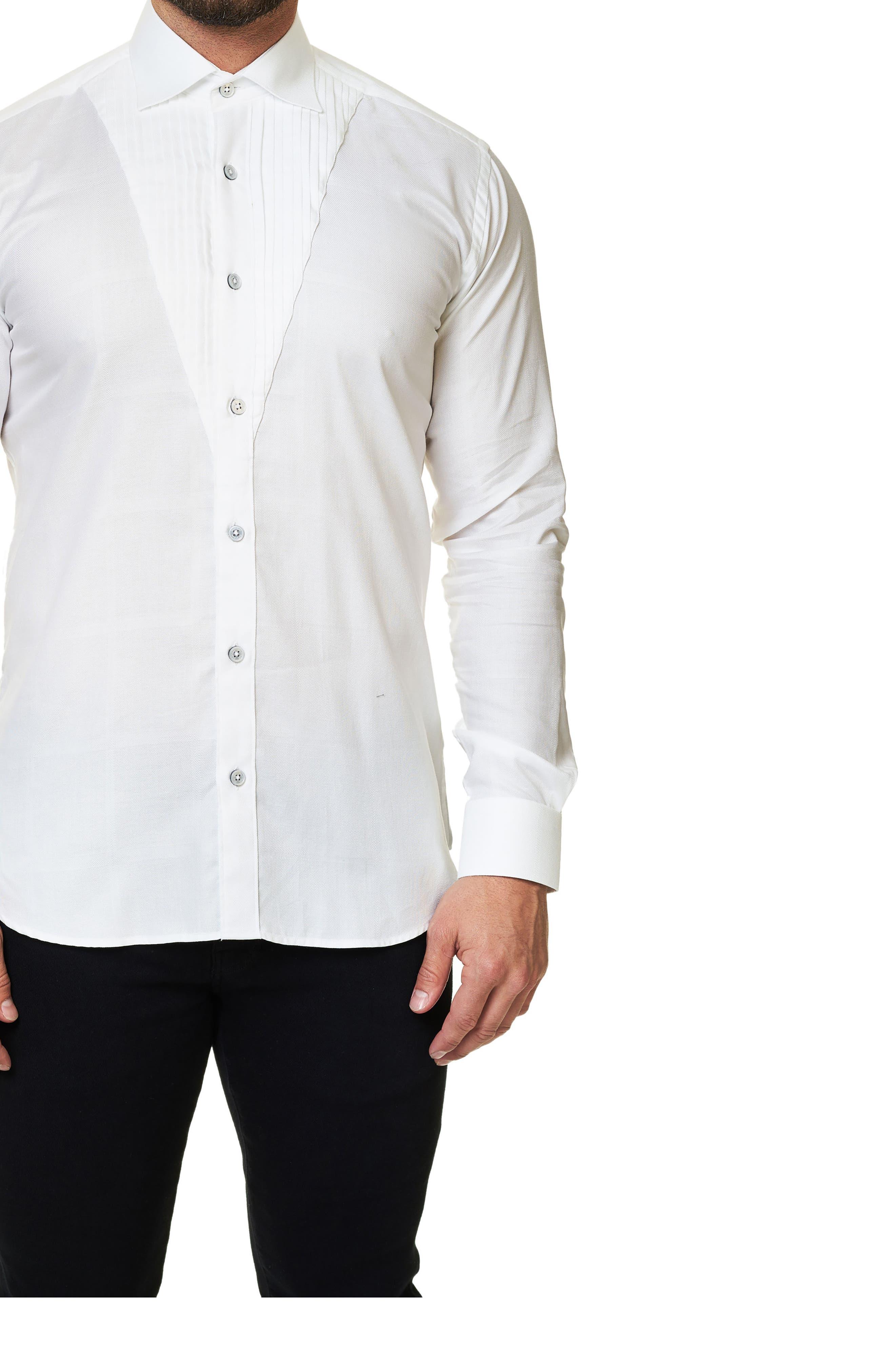 Trim Fit Tuxedo Panel Sport Shirt,                             Alternate thumbnail 3, color,                             White