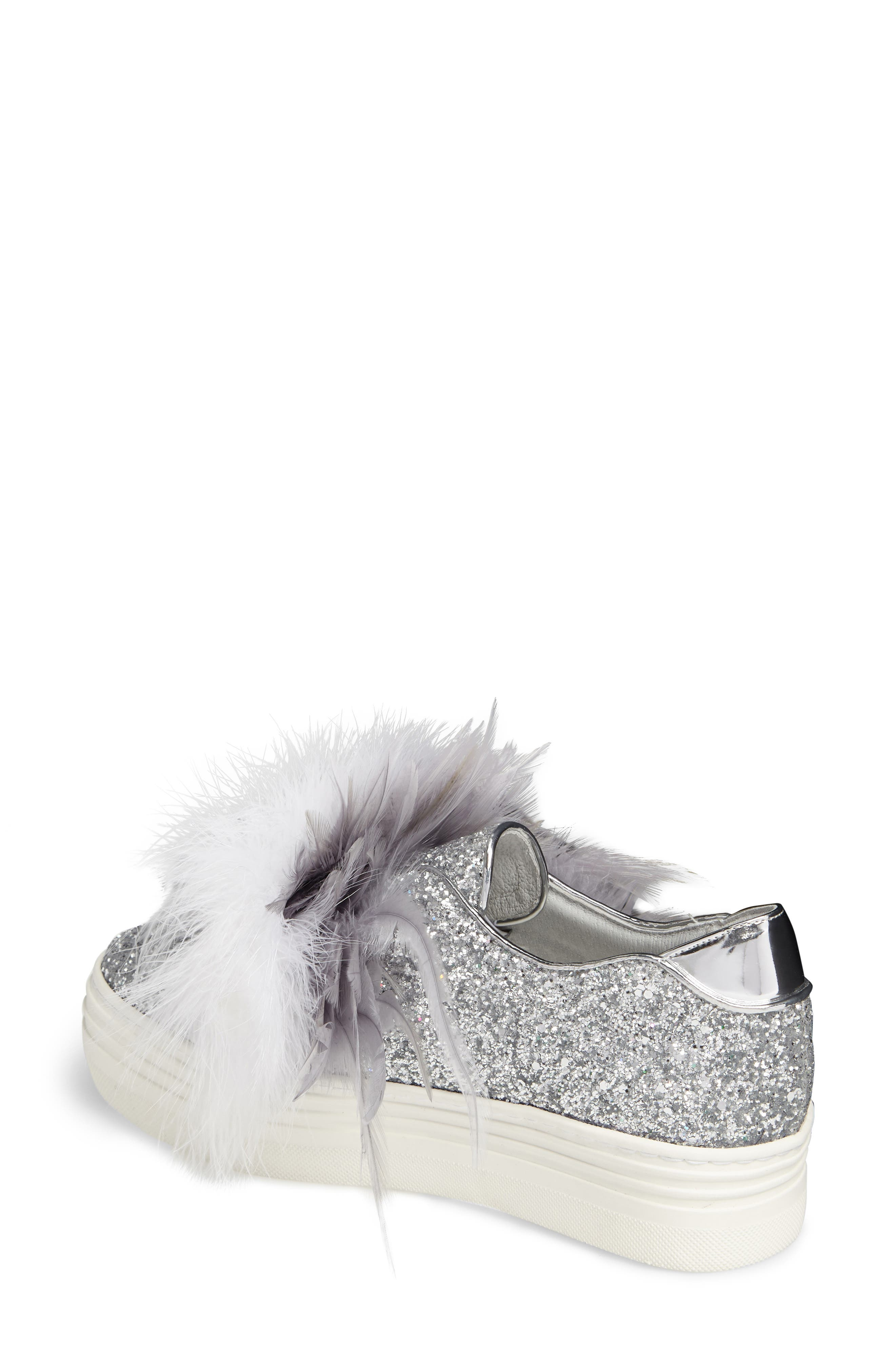 Kate Feathered Slip-On Sneaker,                             Alternate thumbnail 2, color,                             Grey Feather Silver Glitter