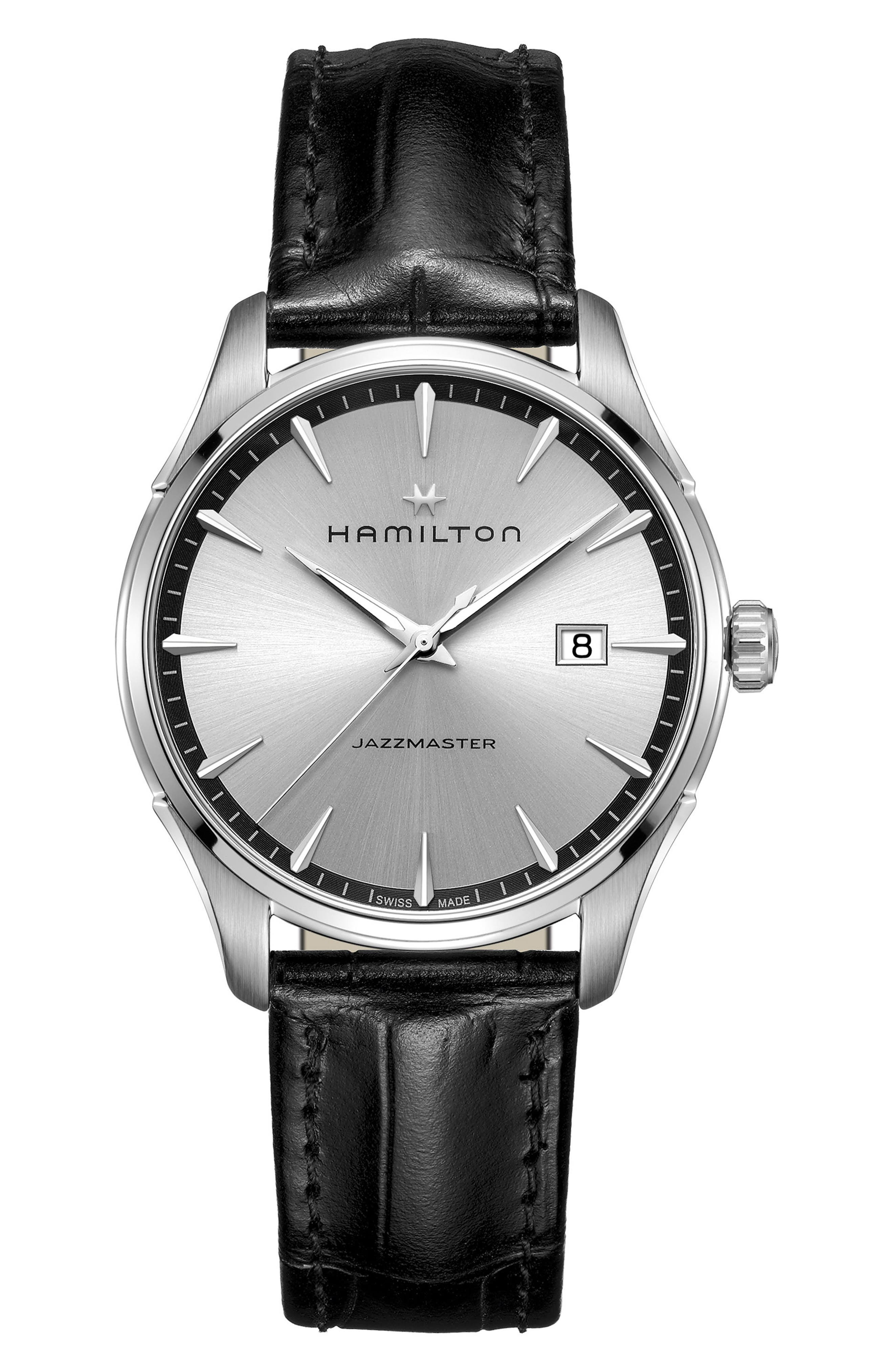 Main Image - Hamilton Jazzmaster Gent Leather Strap Watch, 40mm