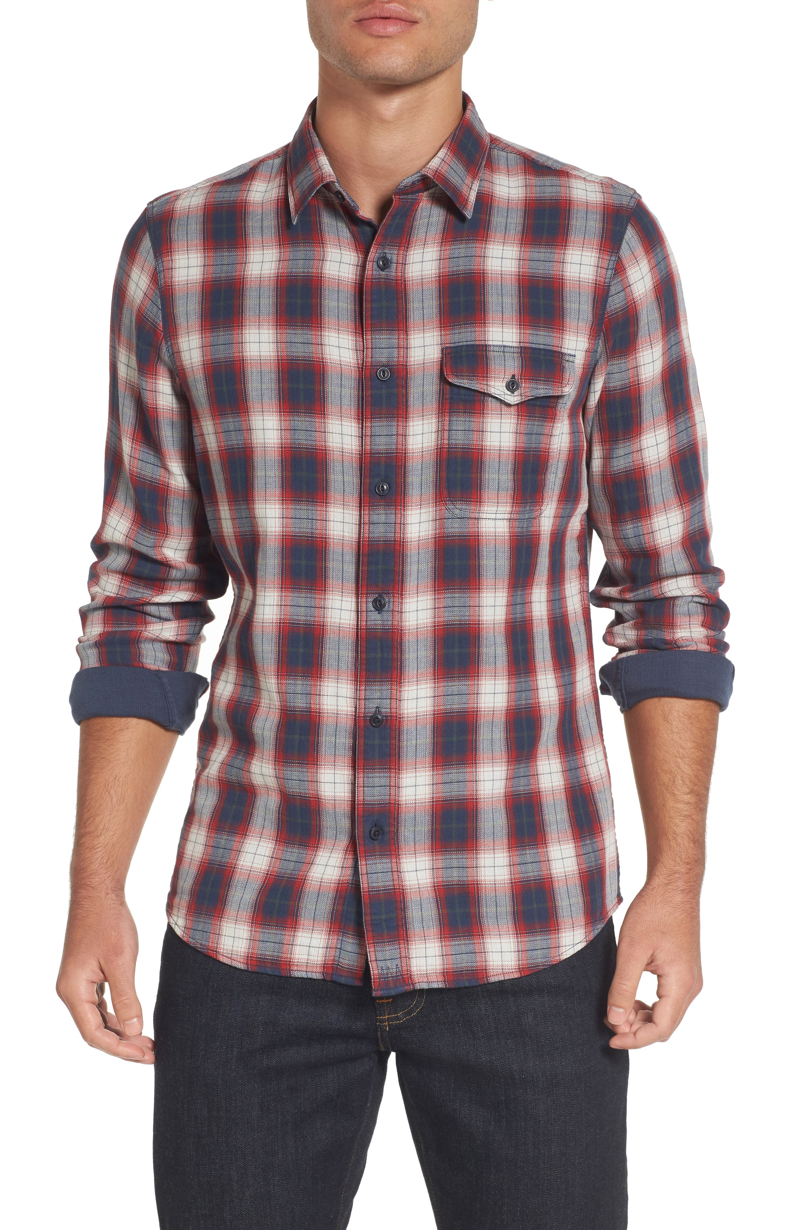 Main Image - Nordstrom Men's Shop Trim Fit Lumber Duofold Sport Shirt (Tall)