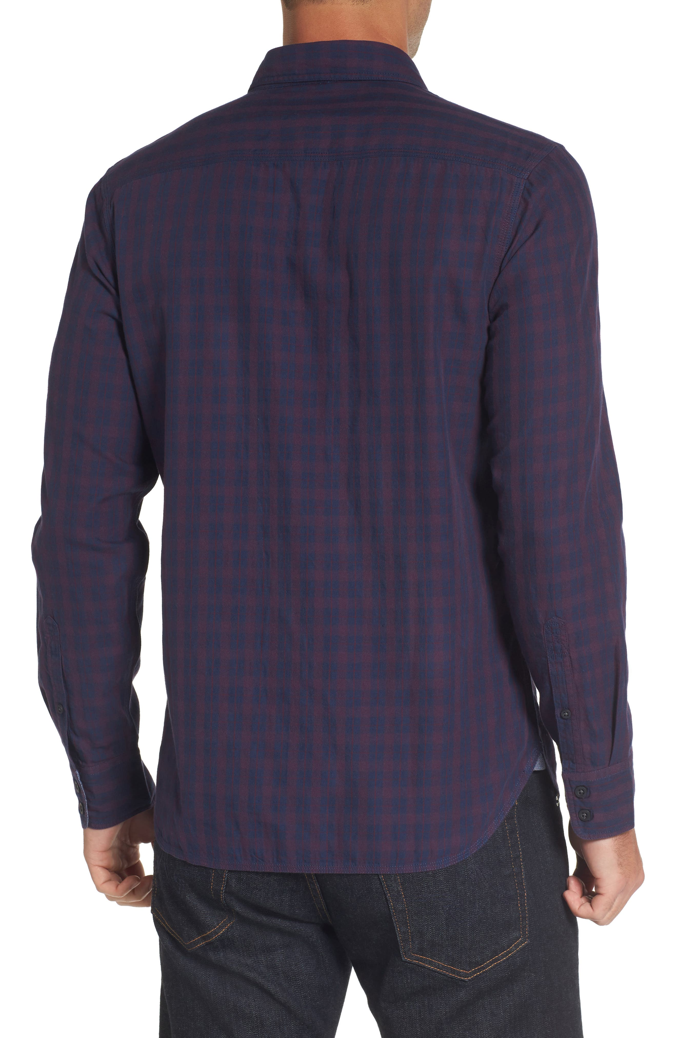Slim Washed Fit Sport Shirt,                             Alternate thumbnail 2, color,                             Navy Iris Burgundy Stem Check