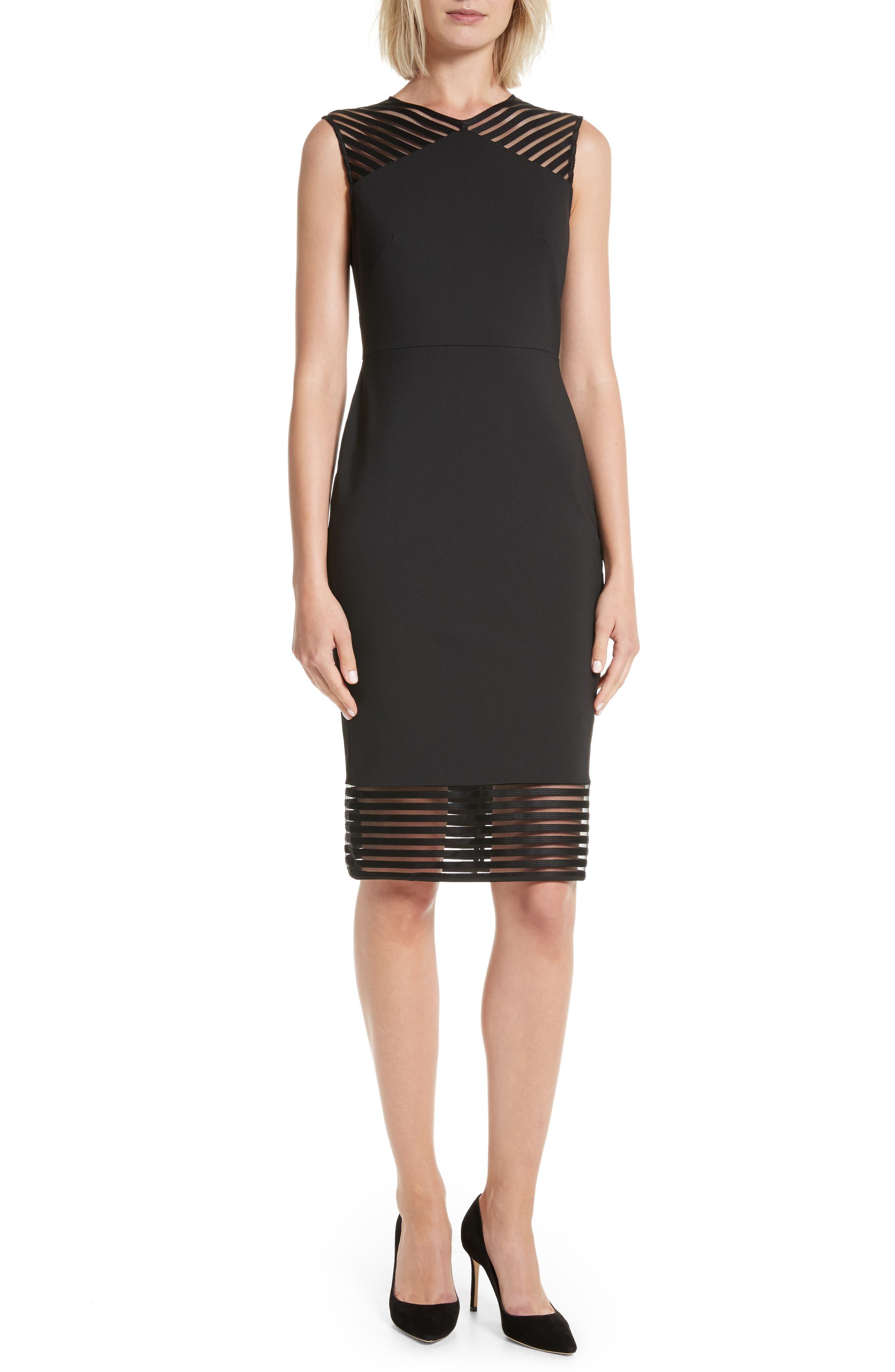 Lucette Mesh Detail Body Con Dress,                             Main thumbnail 1, color,                             Black