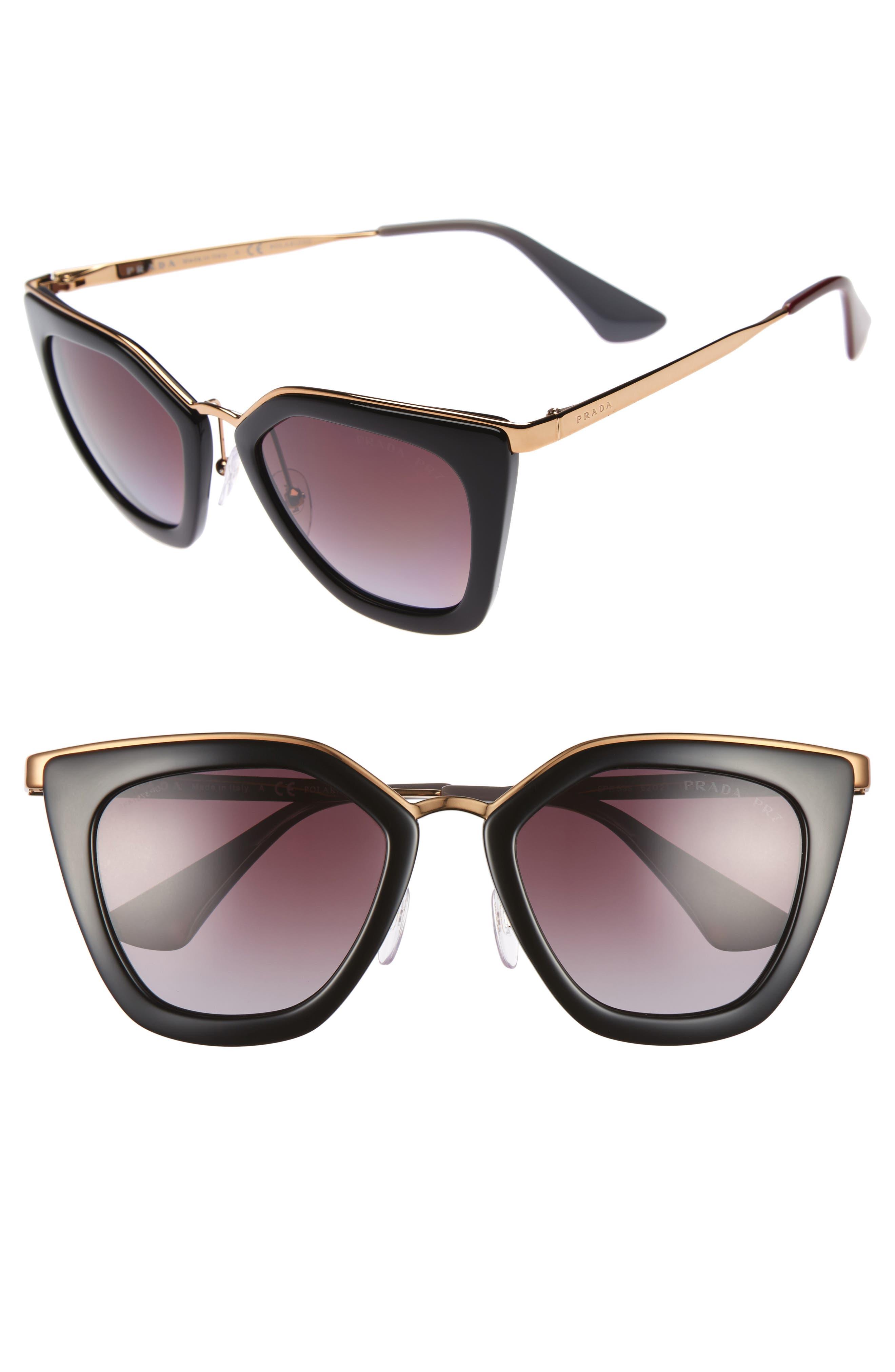 52mm Polarized Cat Eye Sunglasses,                         Main,                         color, Black Polar