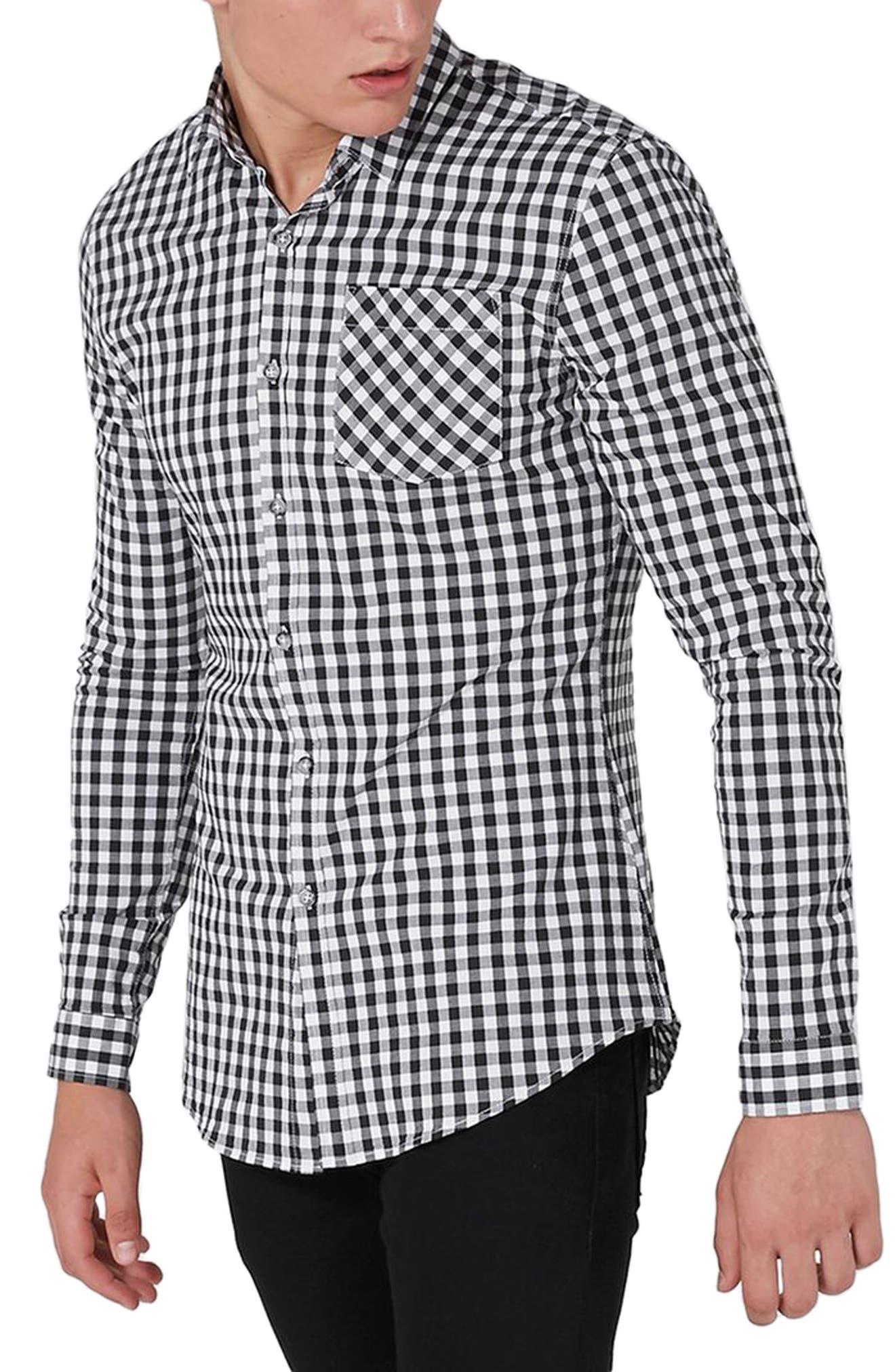 Muscle Fit Gingham Sport Shirt,                         Main,                         color, Black Multi