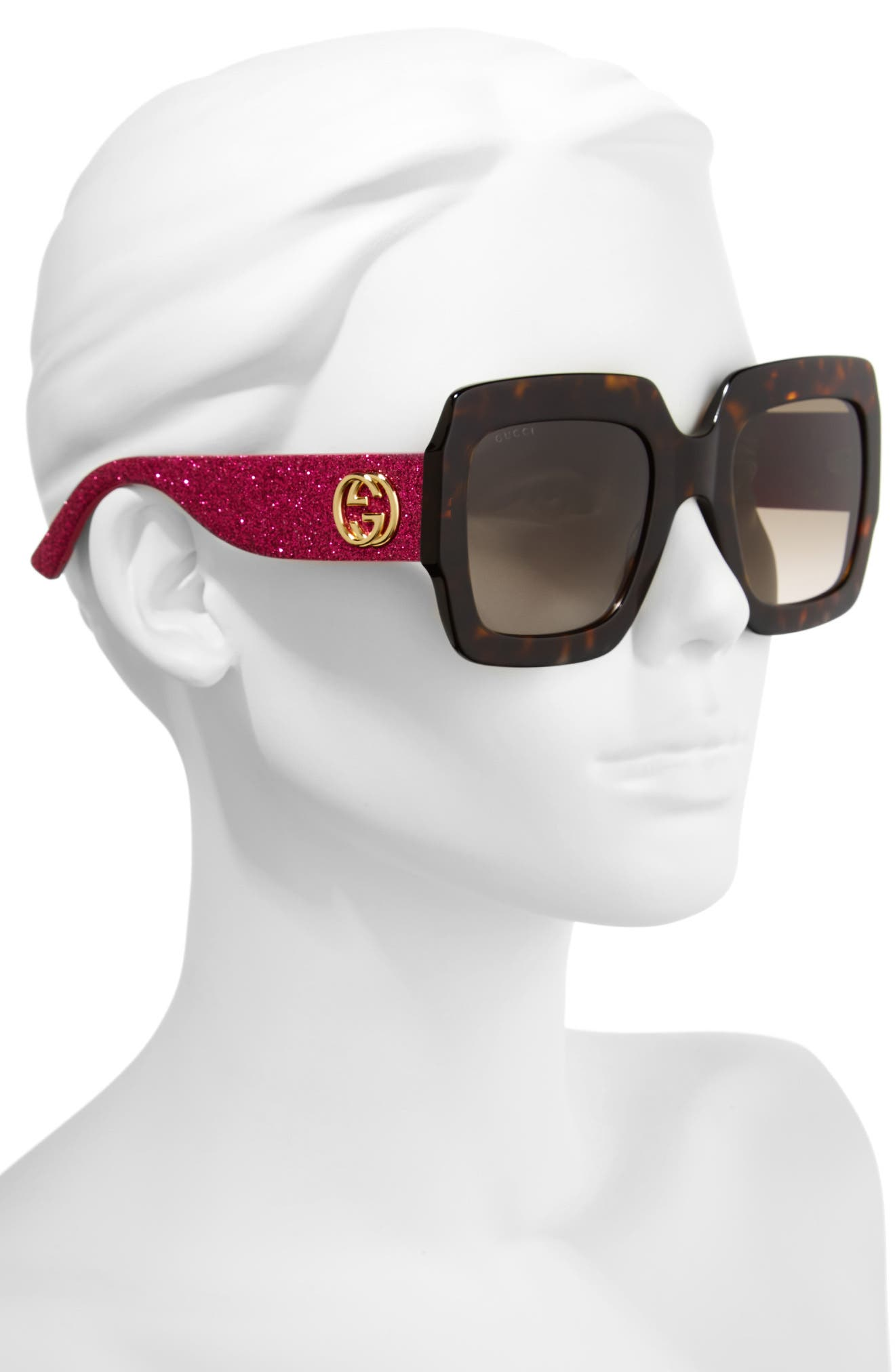 54mm Square Sunglasses,                             Alternate thumbnail 2, color,                             Havana/ Brown