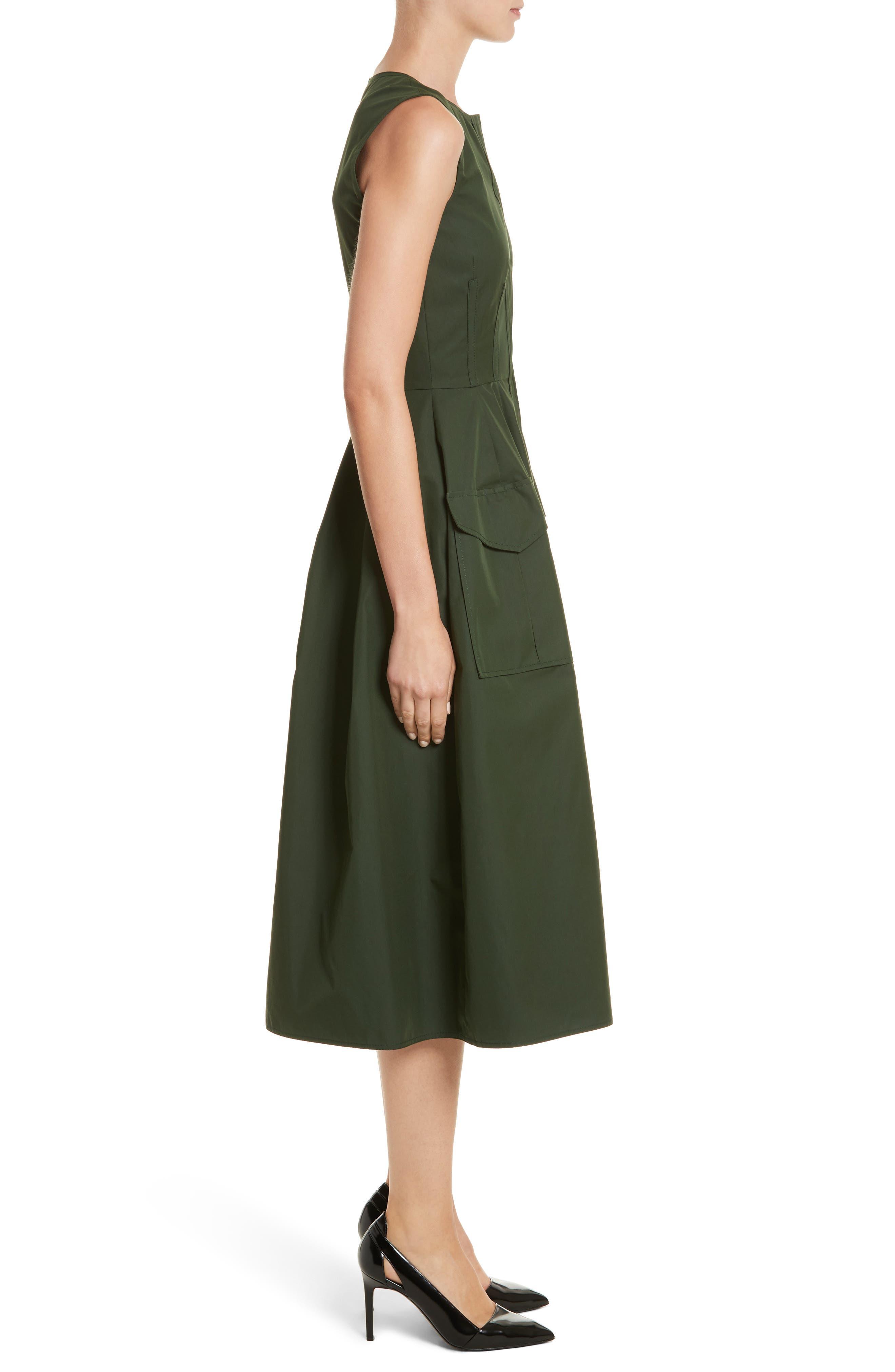 Safari Micro Twill Dress,                             Alternate thumbnail 3, color,                             Fern