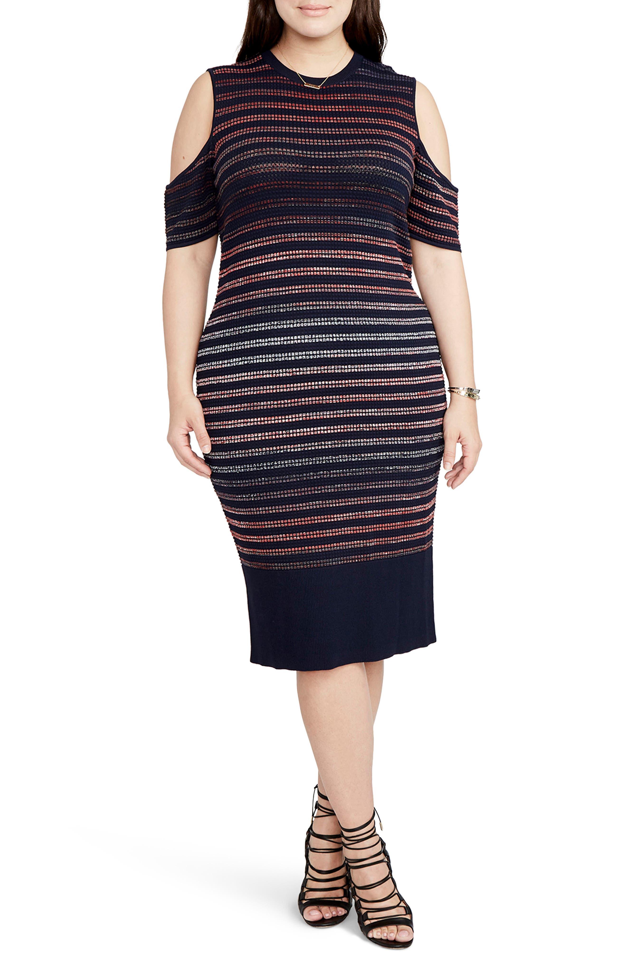 Main Image - RACHEL Rachel Roy Ombré Stripe Cold Shoulder Sweater Dress (Plus Size)
