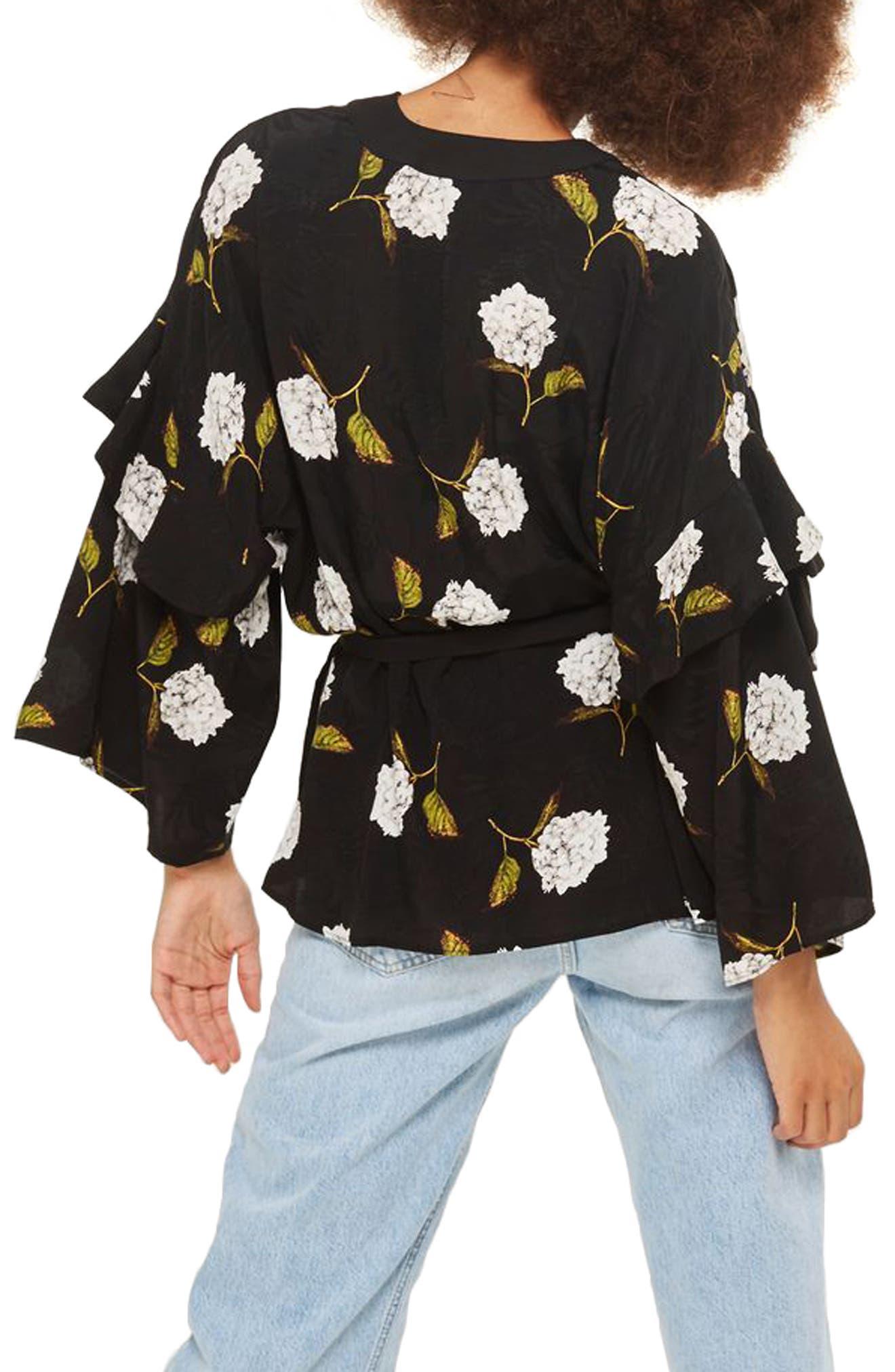 Floral Ruffle Sleeve Kimono,                             Alternate thumbnail 2, color,                             Black Multi