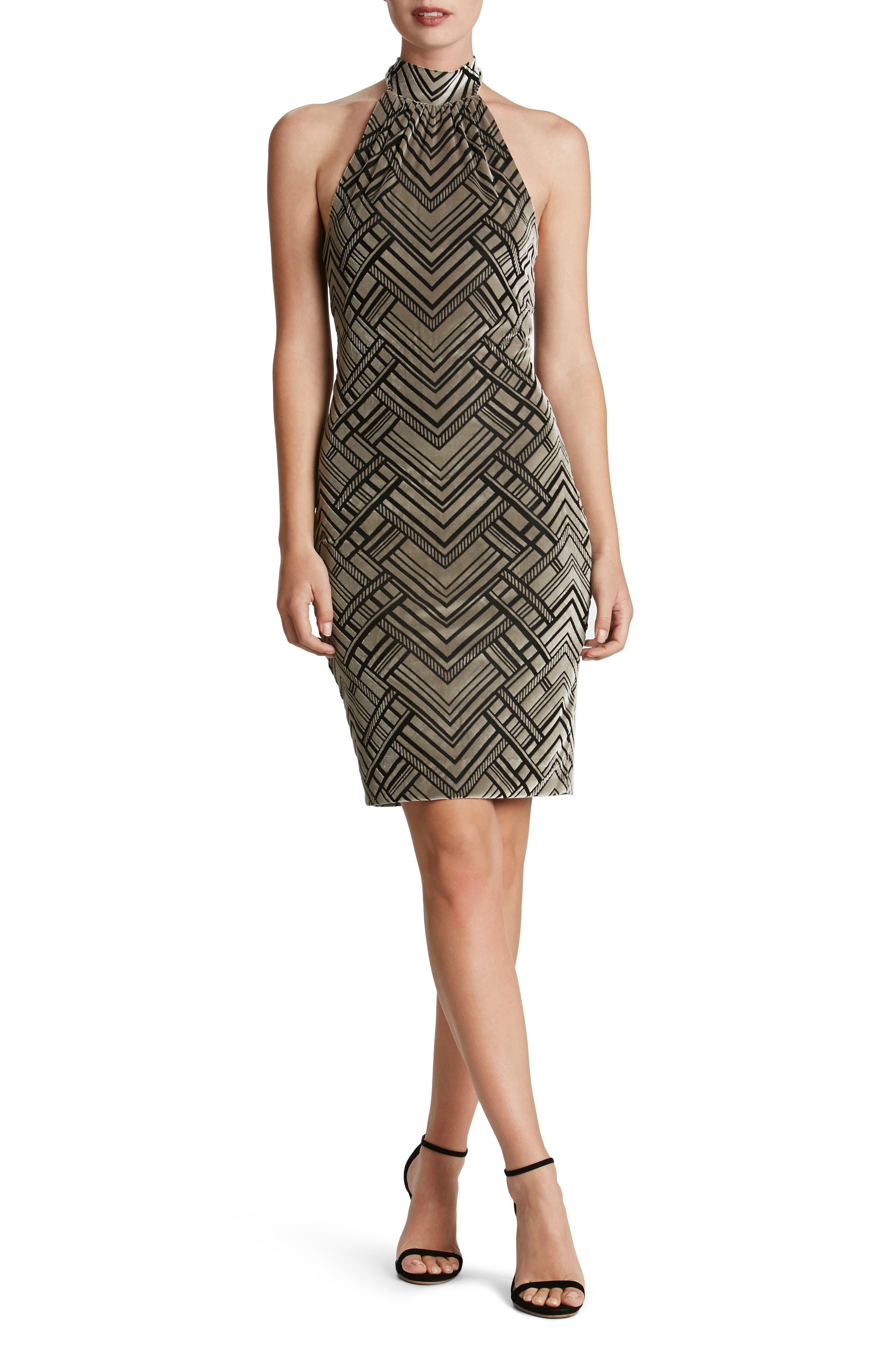 Dress the Population Avery Geometric Burnout Velvet Halter Dress