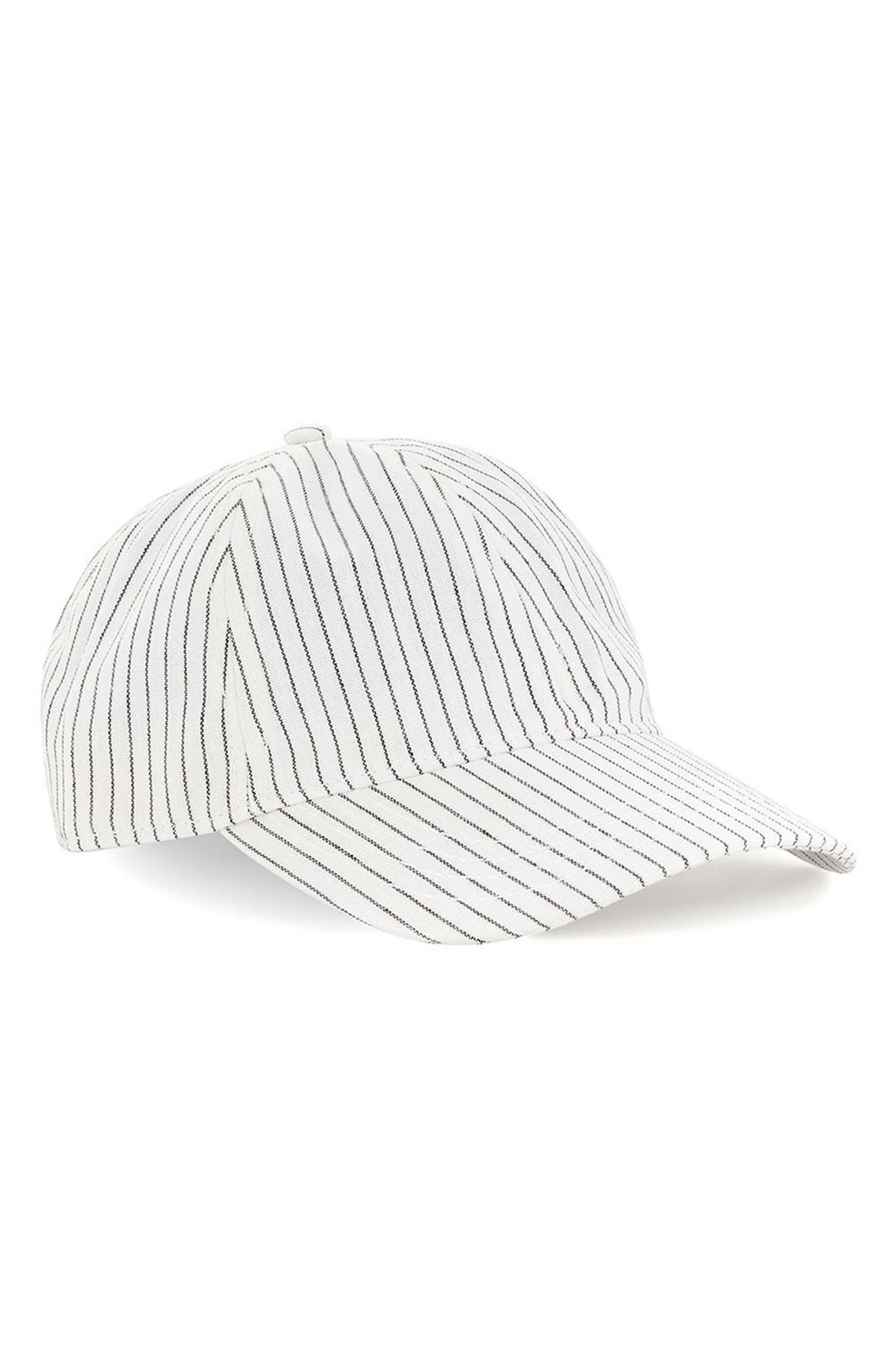 Stripe Boys Curved Peak Cap,                         Main,                         color, White Multi