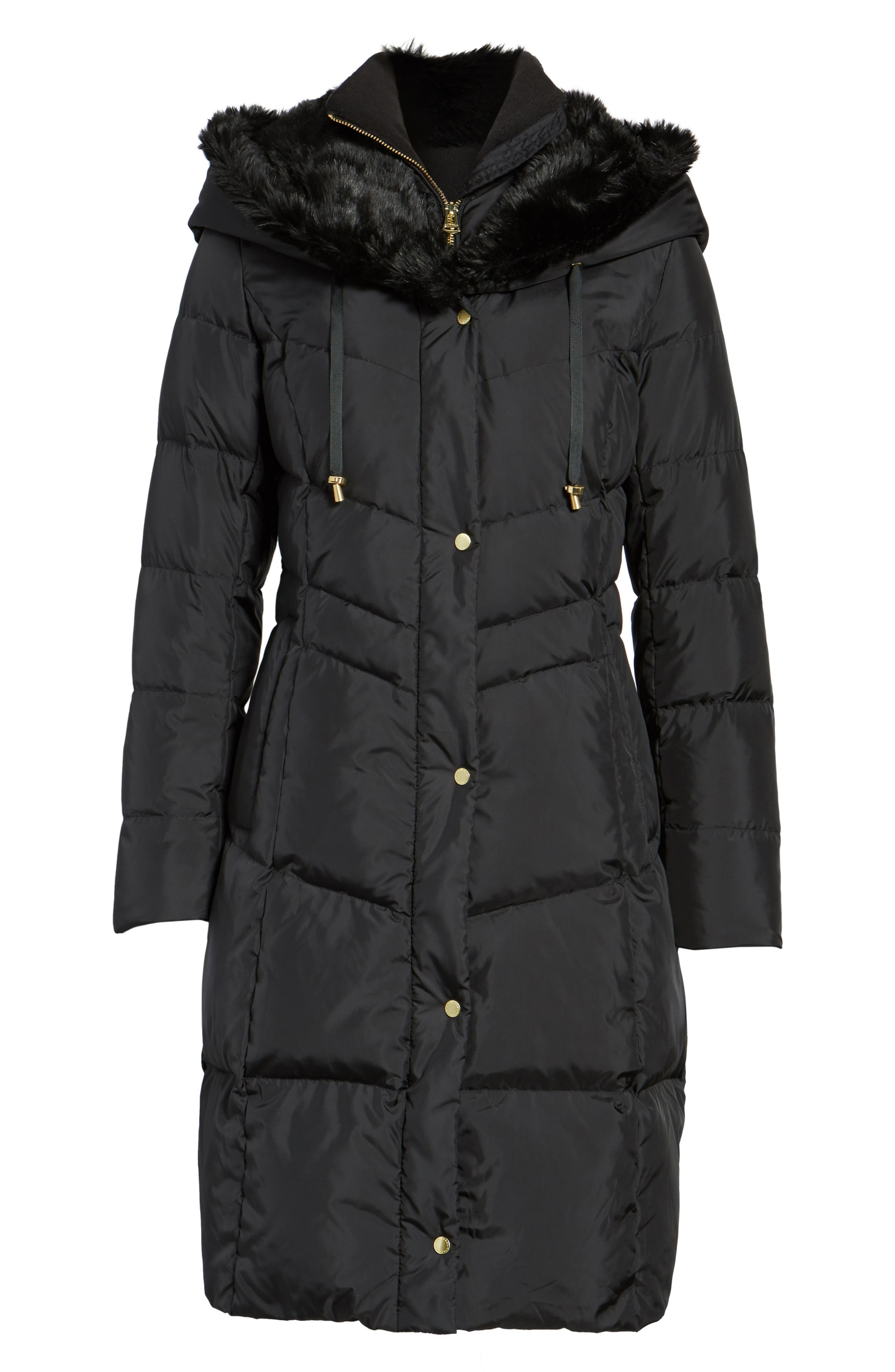 Alternate Image 6  - Cole Haan 3/4 Down Coat with Faux Fur Hood