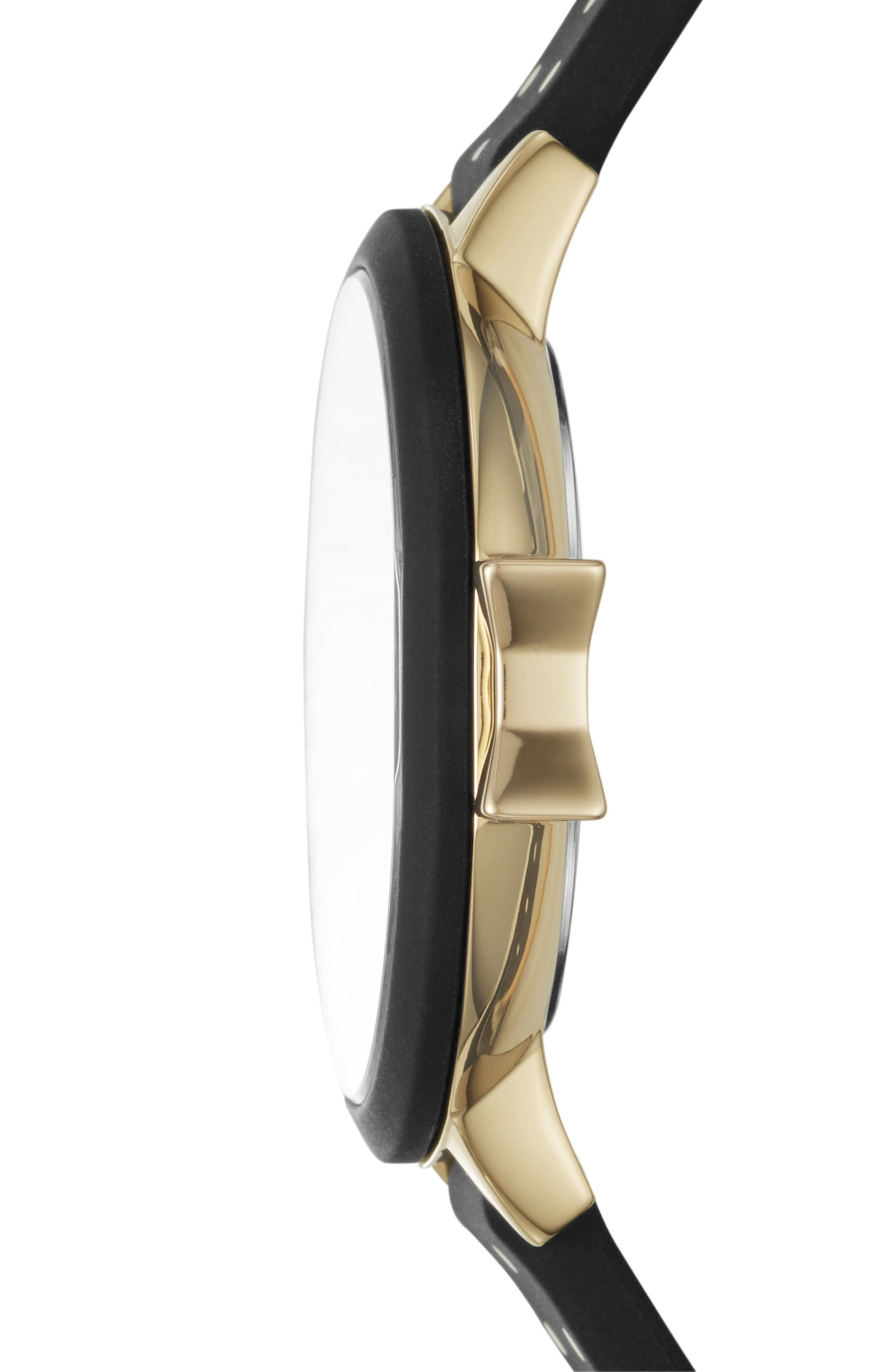 park row silicone strap watch, 34mm,                             Alternate thumbnail 2, color,                             Black/ Gold