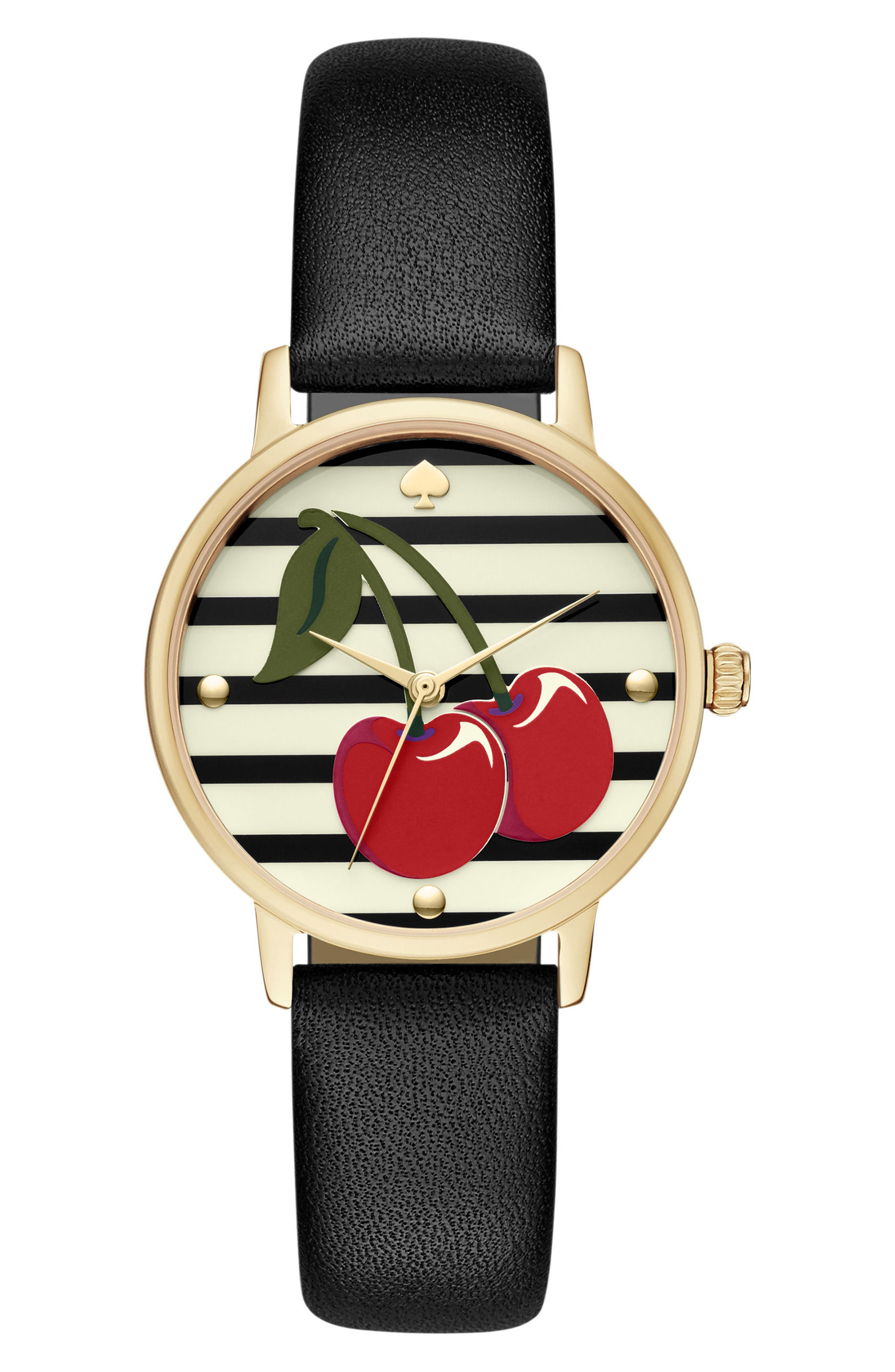 metro wine & dine leather strap watch, 34mm,                             Main thumbnail 1, color,                             Black/ Cherry Print/ Gold