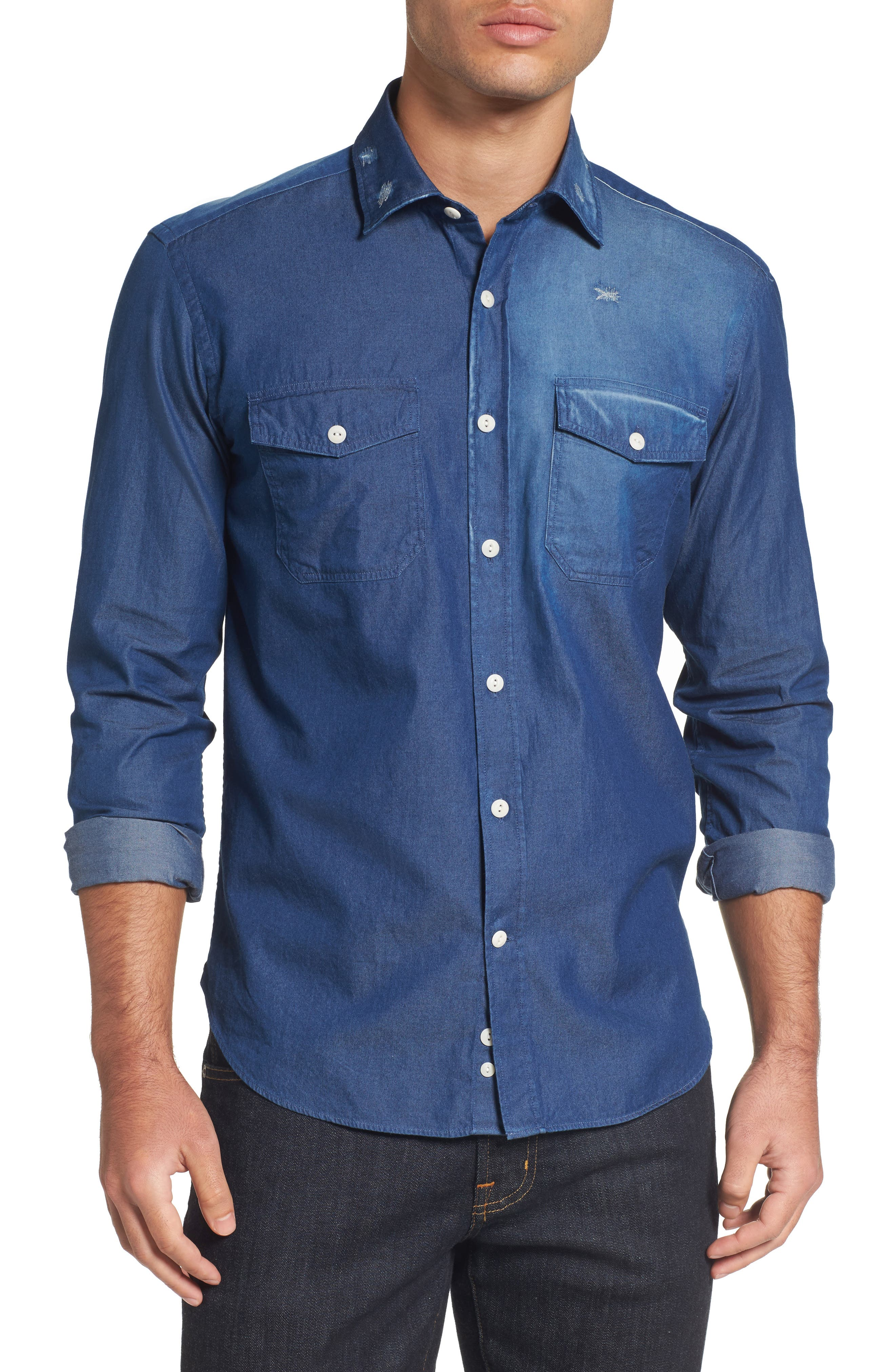 Italian Fade Wash Sport Shirt,                             Main thumbnail 1, color,                             Blue