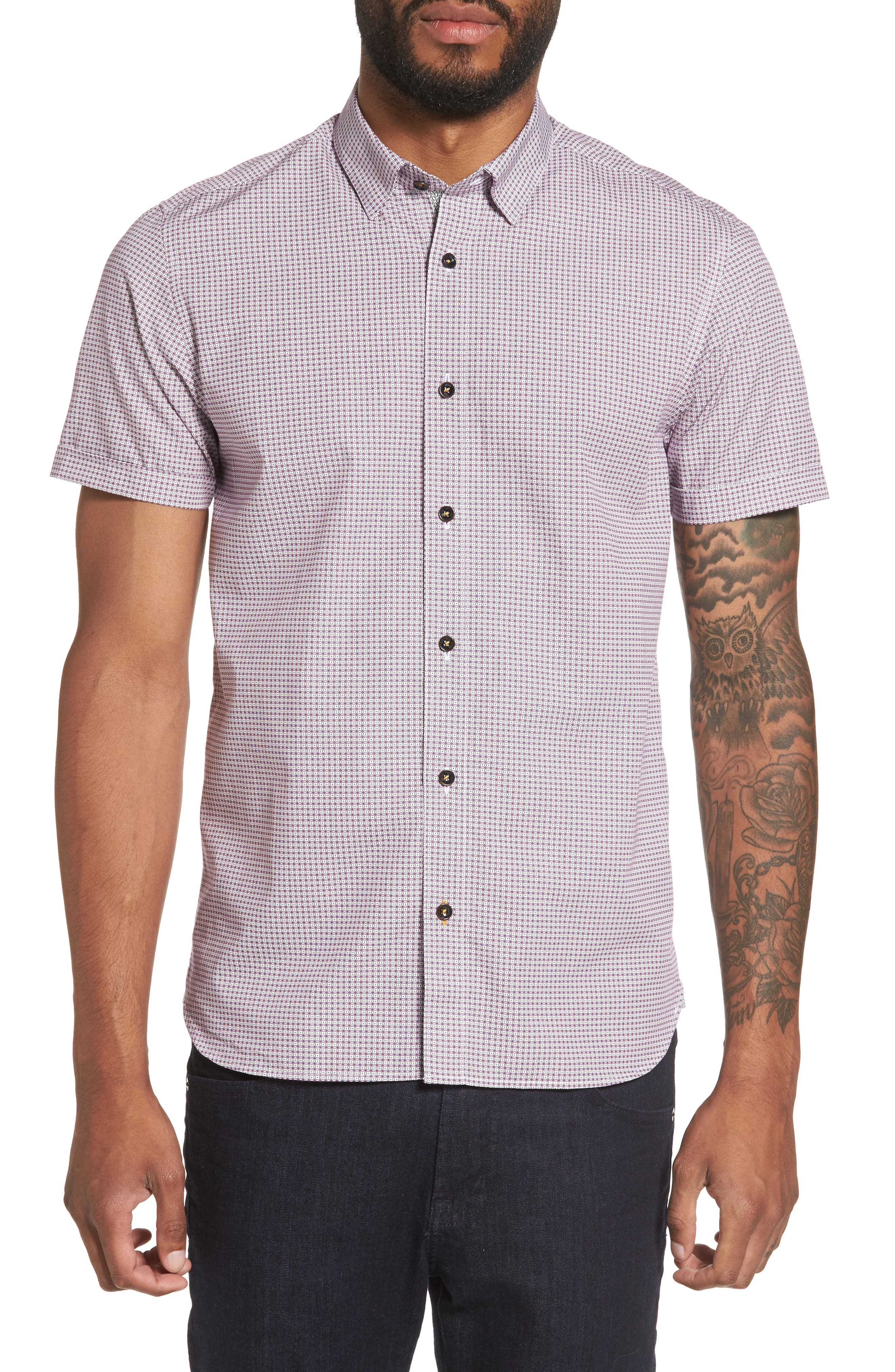 Tennent Trim Fit Microprint Woven Shirt,                         Main,                         color, Dp Purple