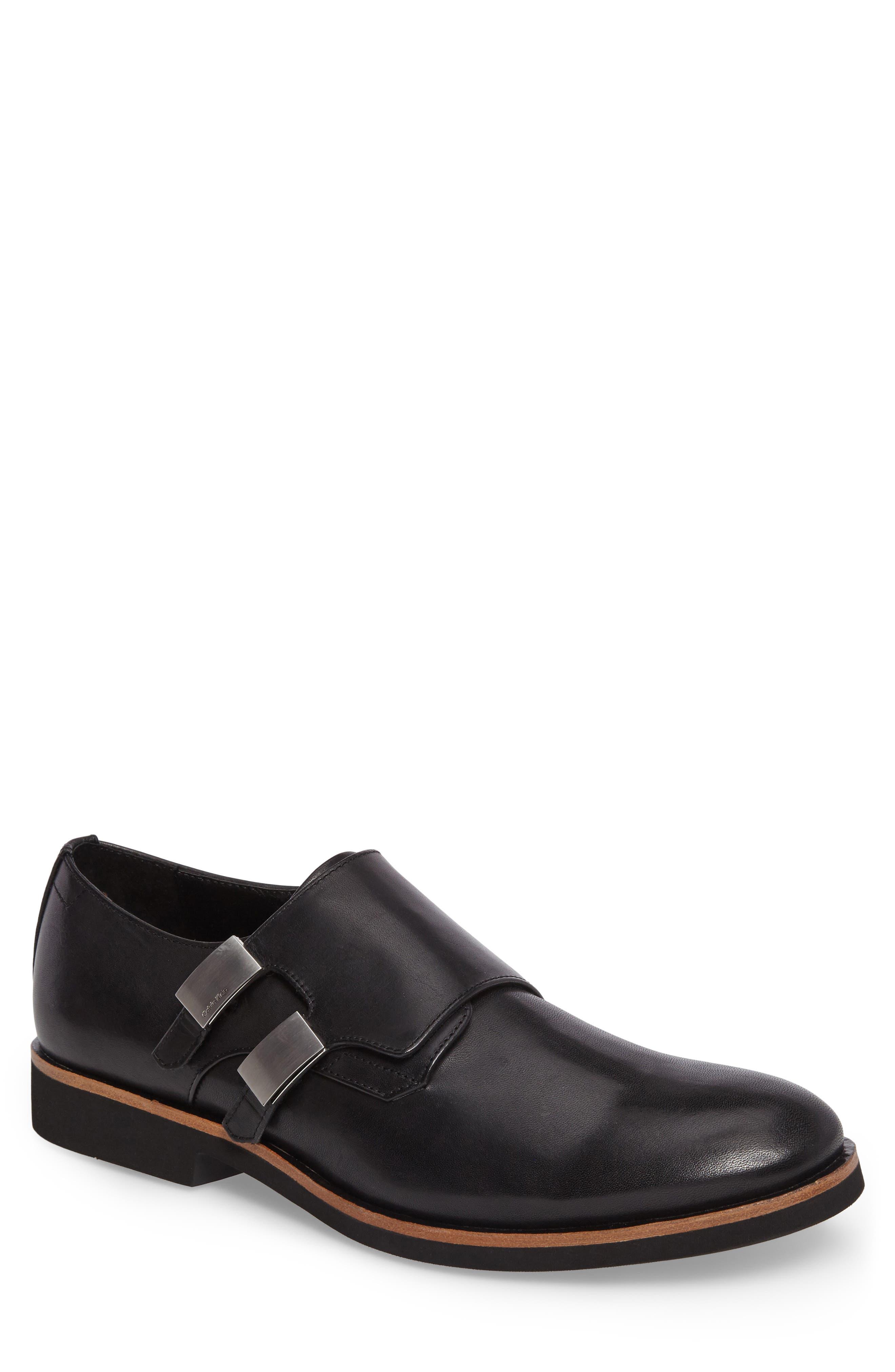 Finnegan Double Monk Strap Shoe,                             Main thumbnail 1, color,                             Black Leather