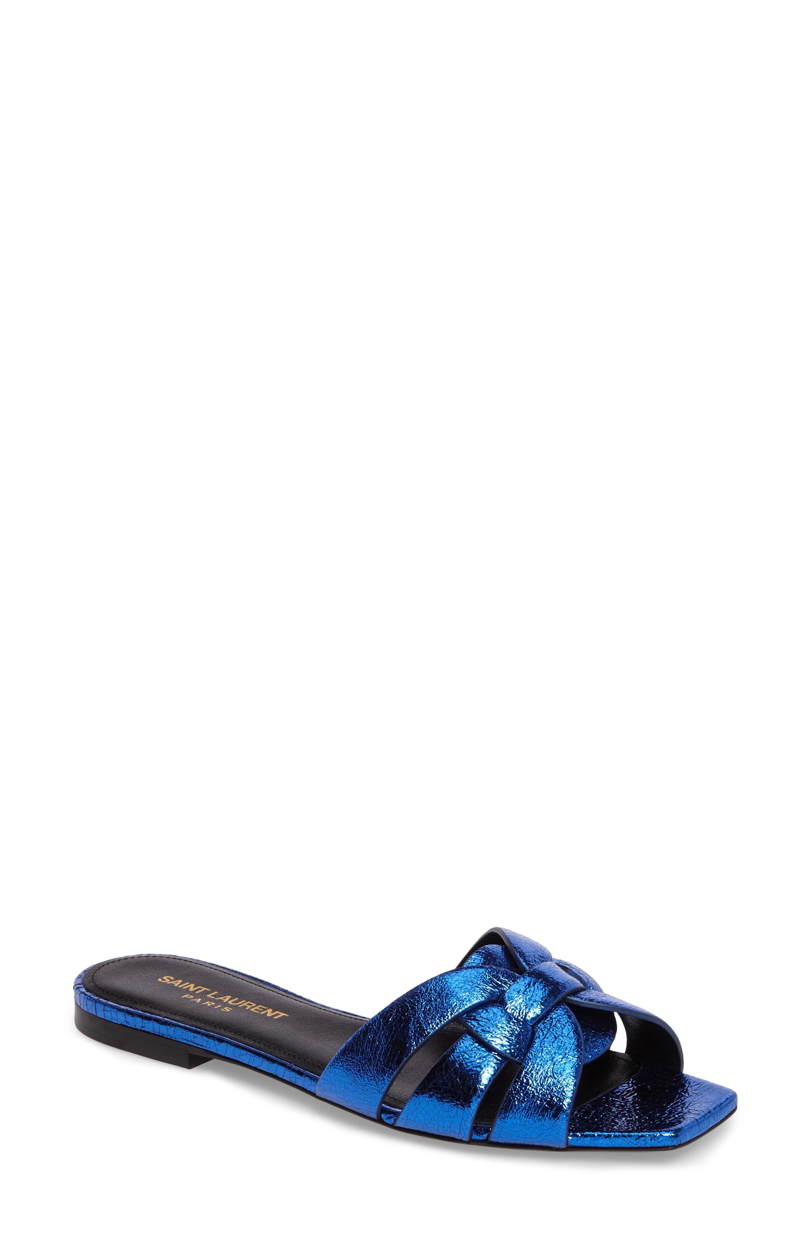 Pieds Metallic Slide Sandal,                             Main thumbnail 1, color,                             Blue Metal