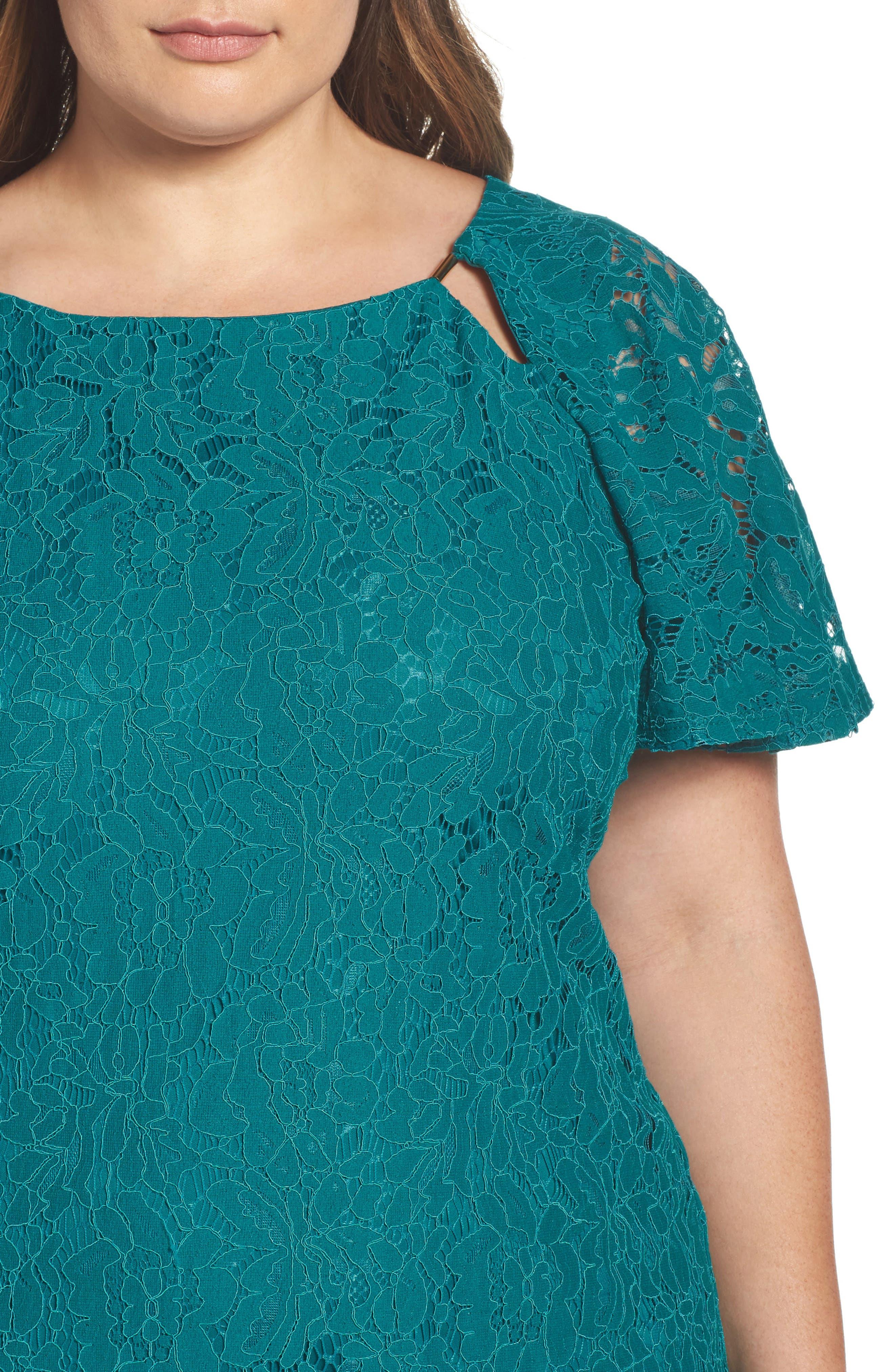 Flutter Sleeve Lace Sheath Dress,                             Alternate thumbnail 4, color,                             Peacock