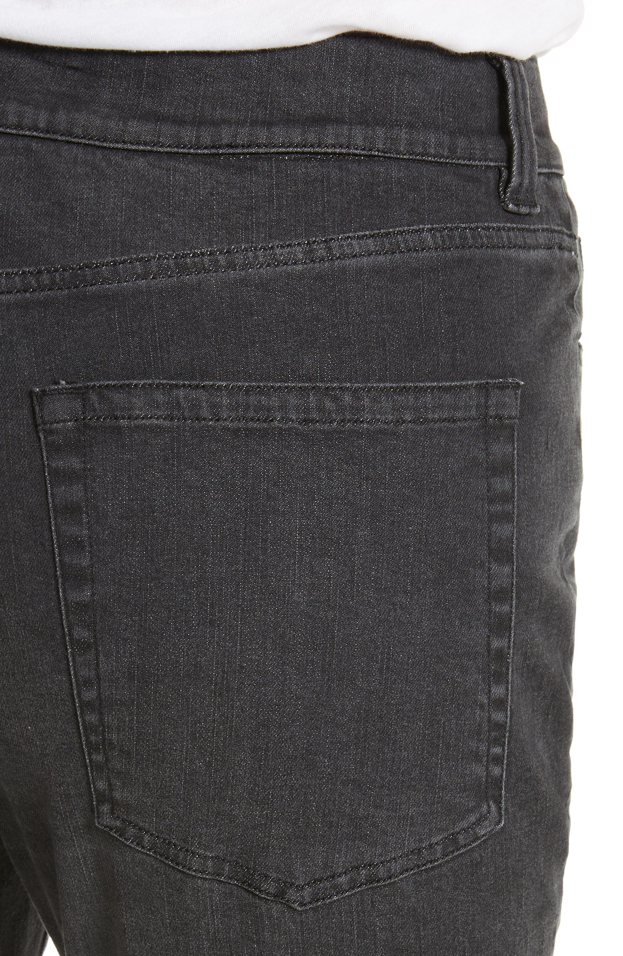 High Waist Slim Jeans,                             Alternate thumbnail 5, color,                             Black Rinse