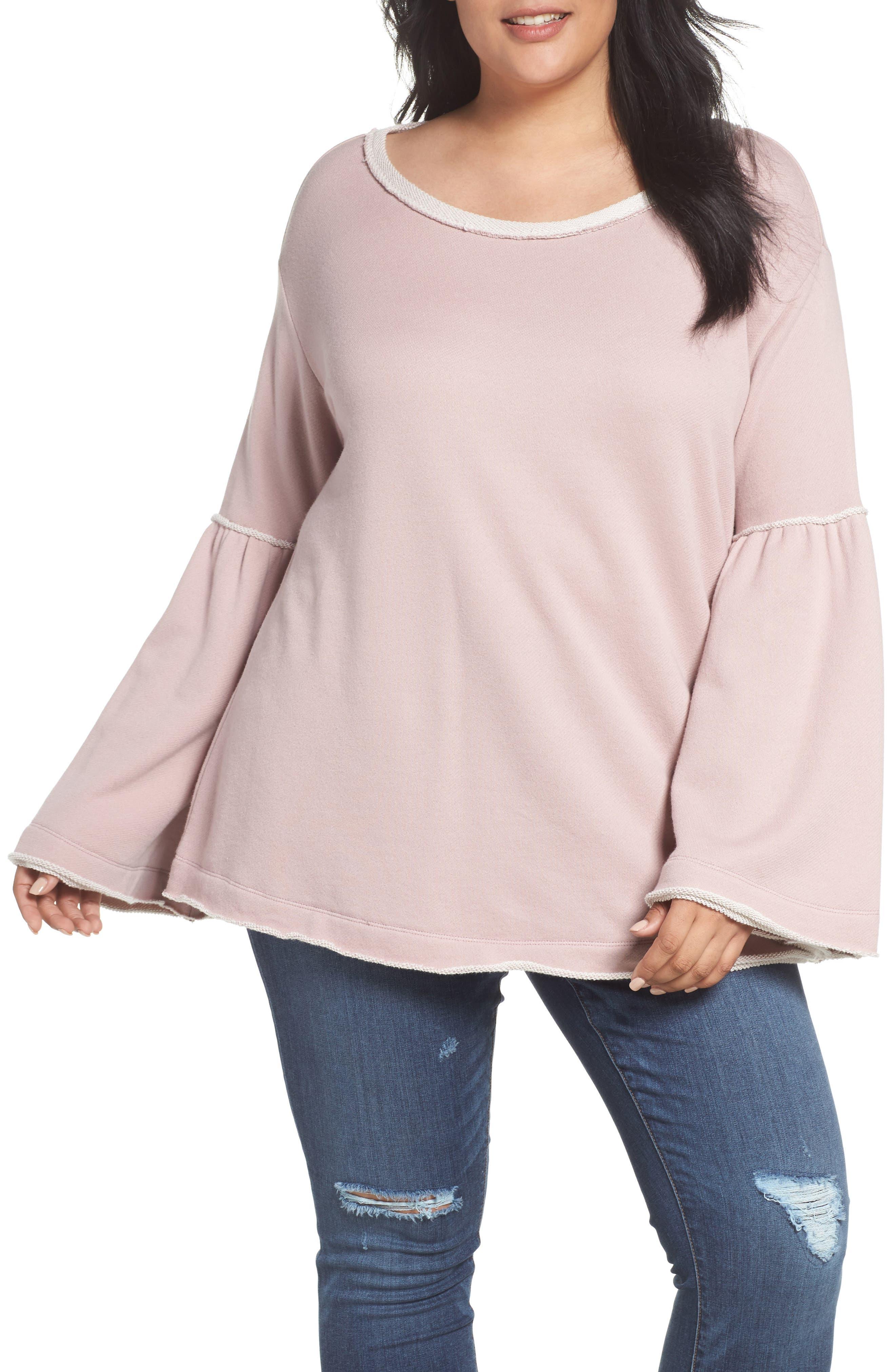 Caslon® Bell Sleeve Sweatshirt (Plus Size)