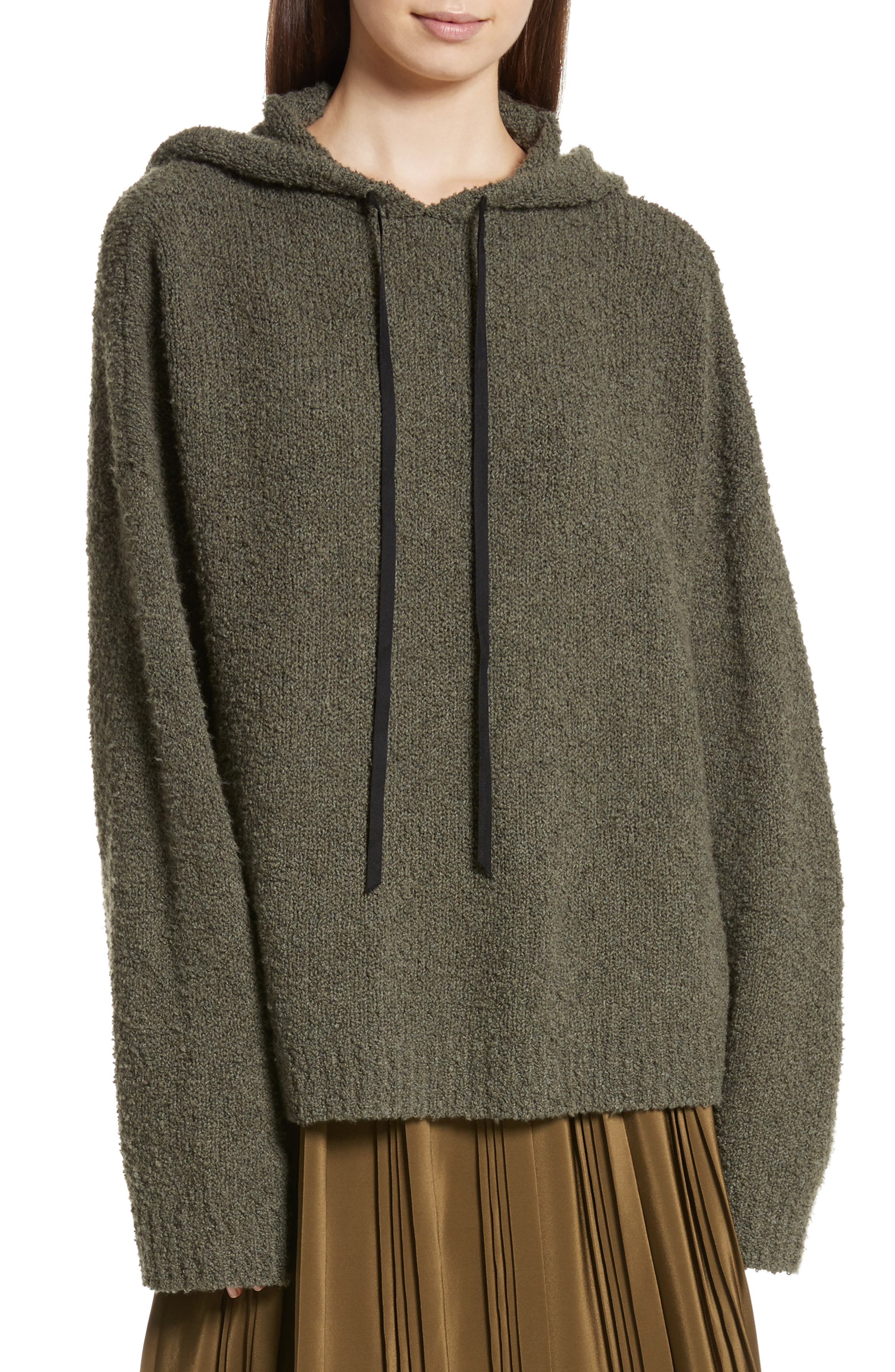 Merino Wool & Cashmere Reversible Hooded Sweater,                         Main,                         color, Olive