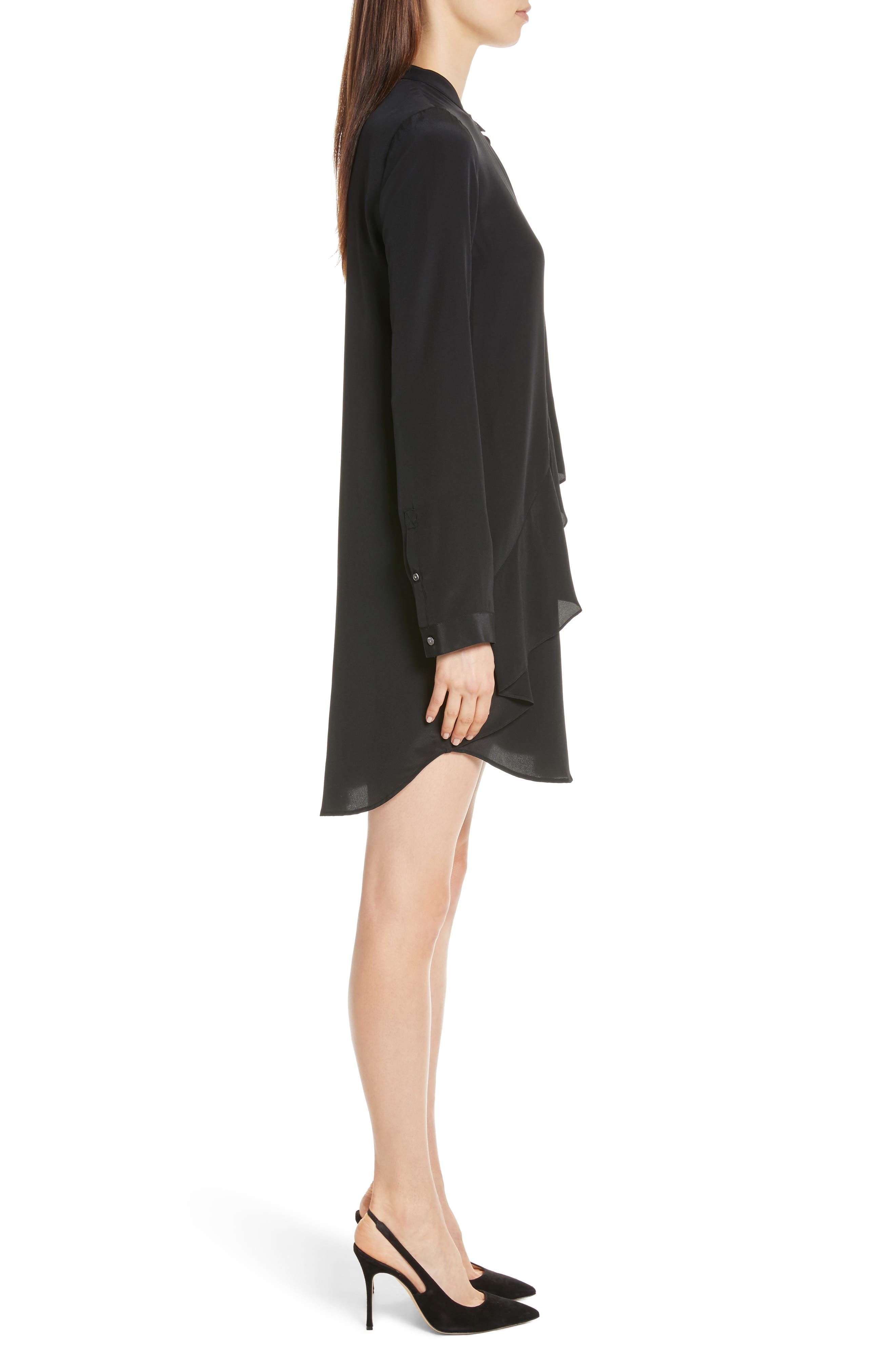 Drape Silk Dress,                             Alternate thumbnail 3, color,                             Black