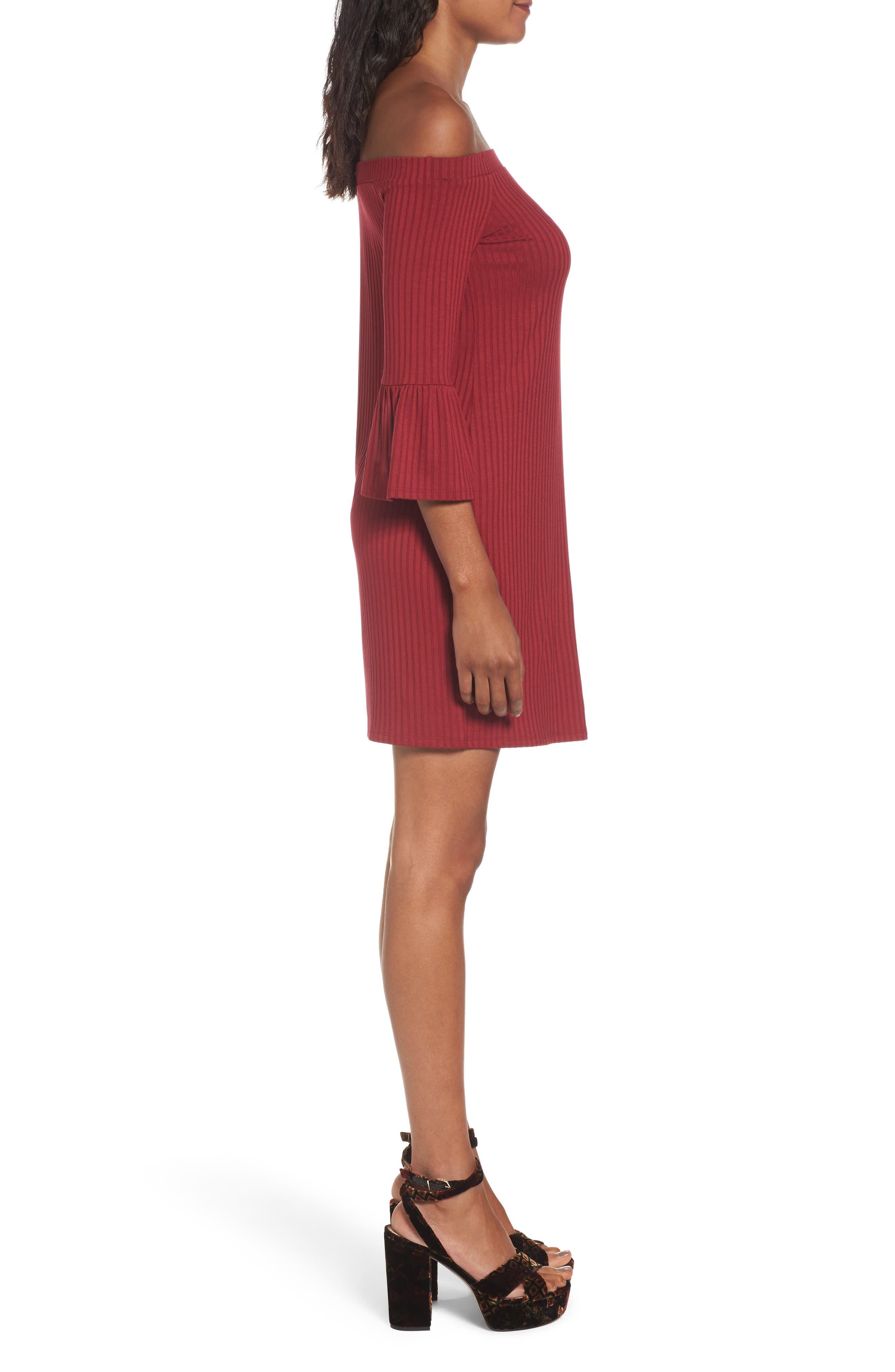 Alternate Image 3  - One Clothing Off the Shoulder Rib Knit Dress