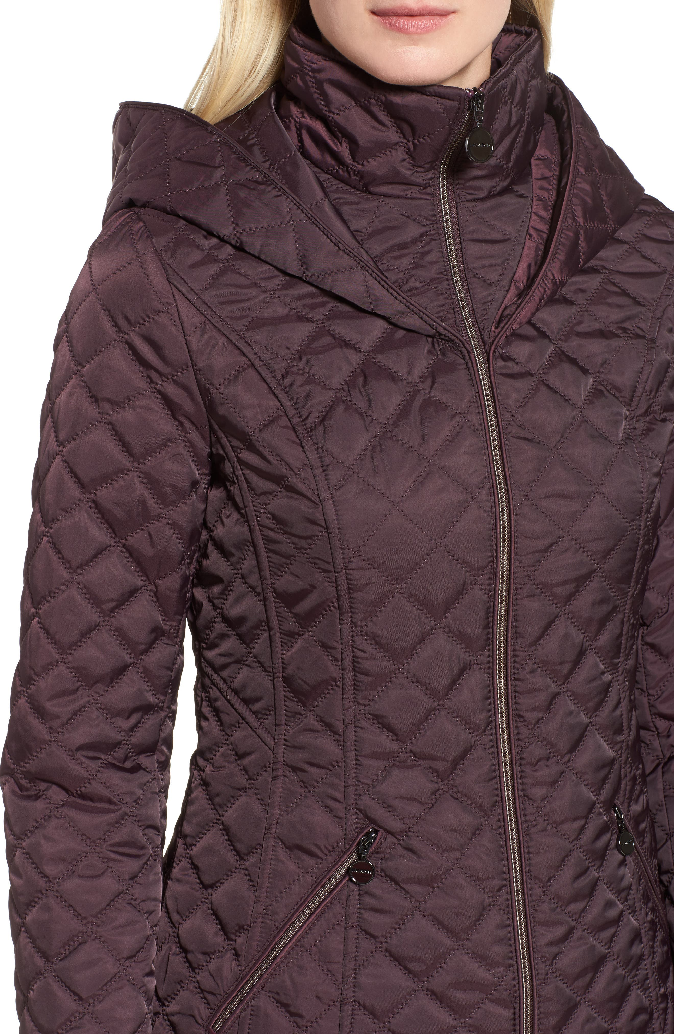 Hooded Quilted Jacket,                             Alternate thumbnail 3, color,                             Claret