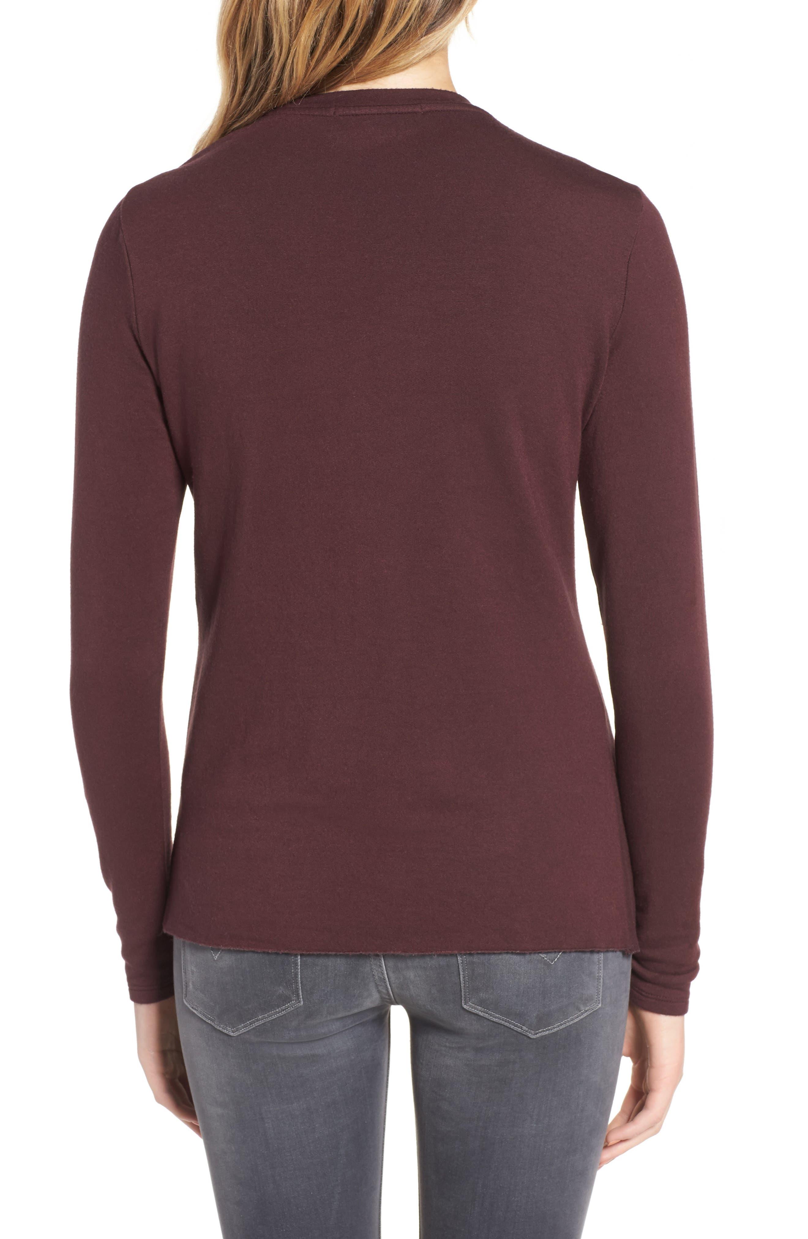 Twist Front Fleece Sweatshirt,                             Alternate thumbnail 2, color,                             Wine