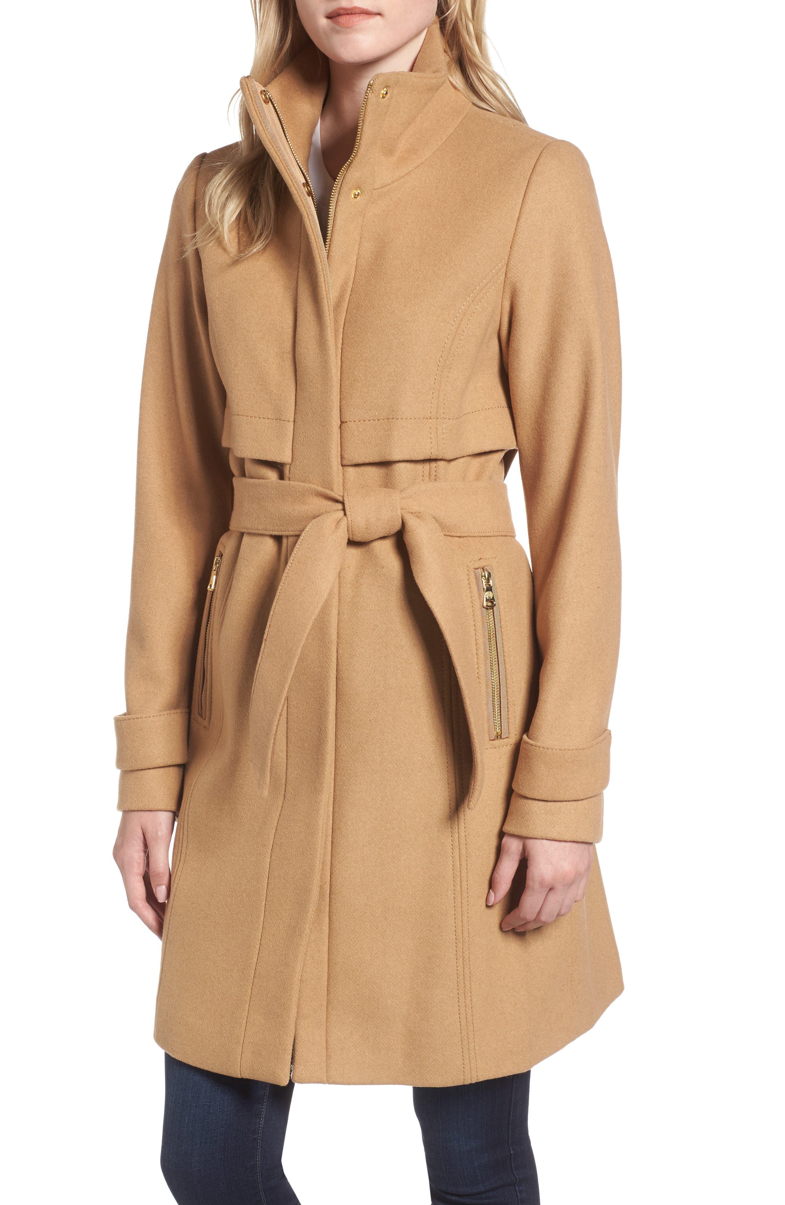 Flange Belted Coat,                         Main,                         color, Camel
