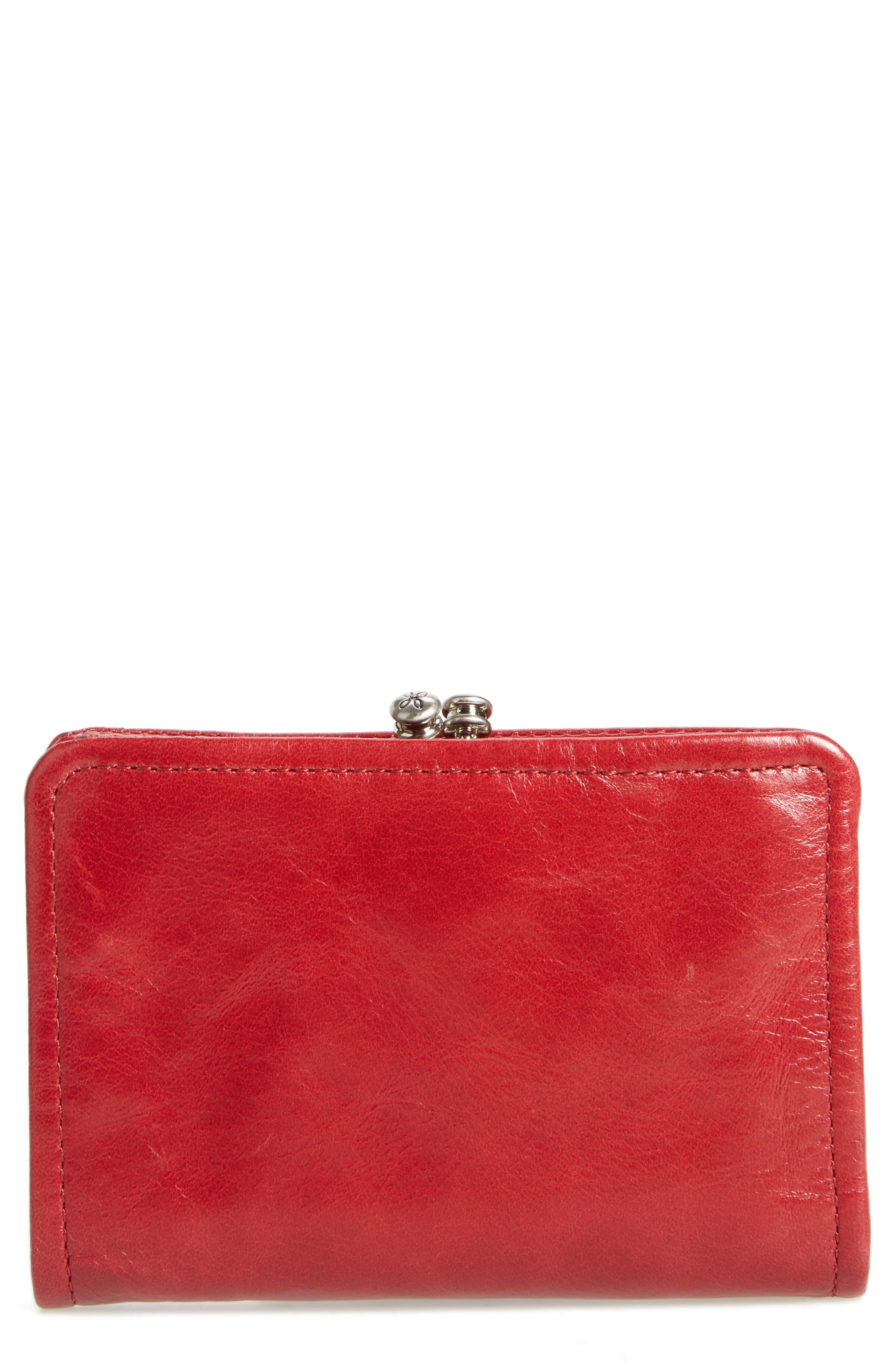 Delta Calfskin Leather Wallet,                             Main thumbnail 1, color,                             Cardinal