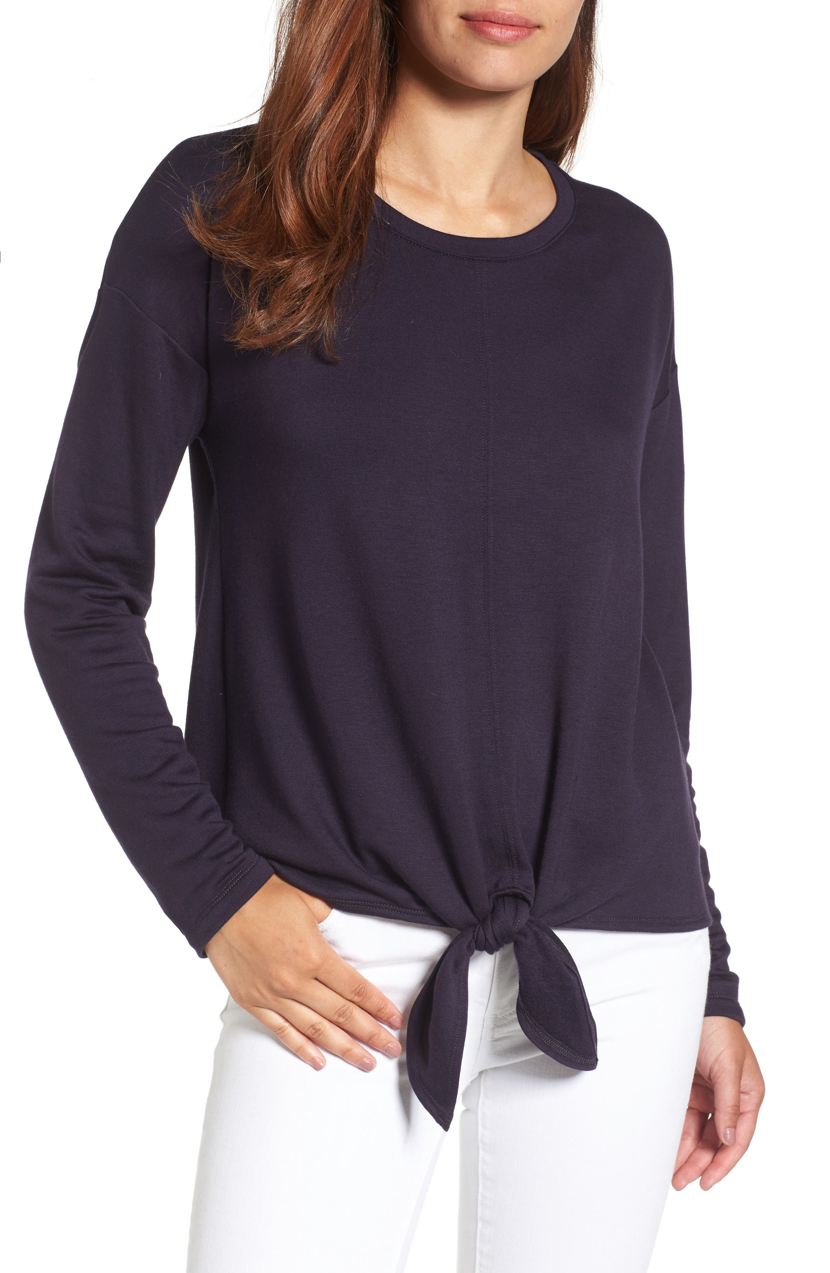 Bobeau Tie Front Sweatshirt (Regular & Petite)