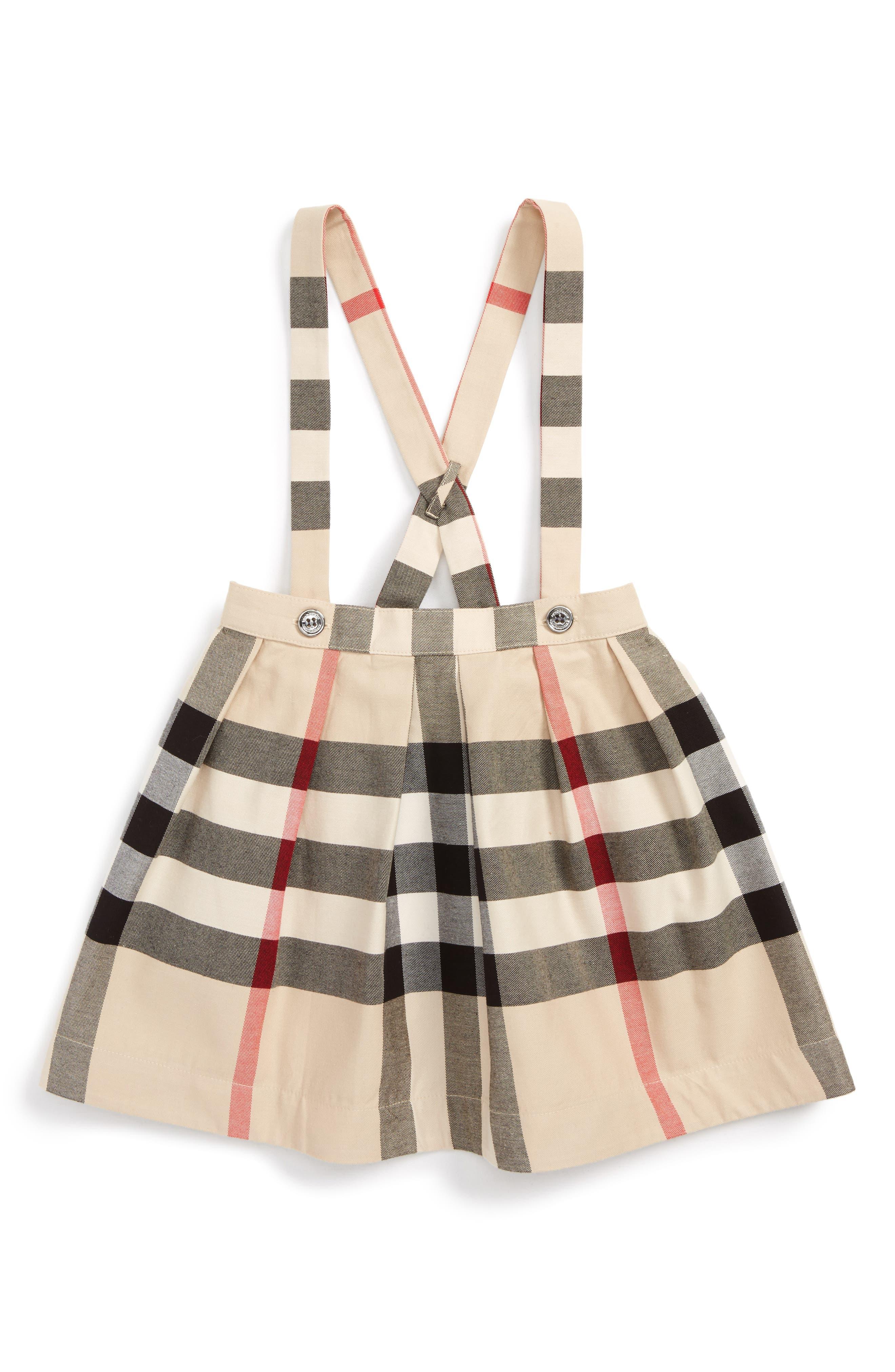 Sofia Plaid Pinafore Skirt,                         Main,                         color, Stone