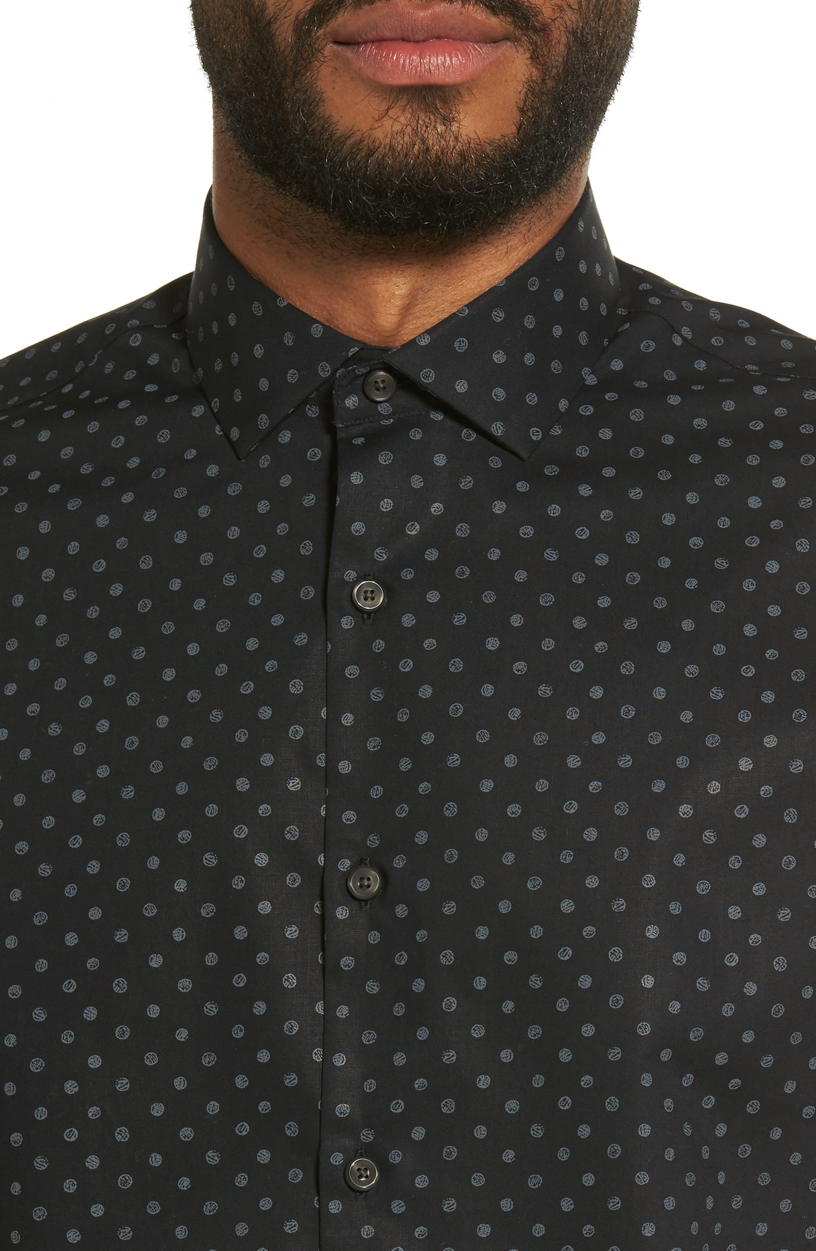 Dot Print Sport Shirt,                             Alternate thumbnail 5, color,                             Black Caviar Grey Dot Print