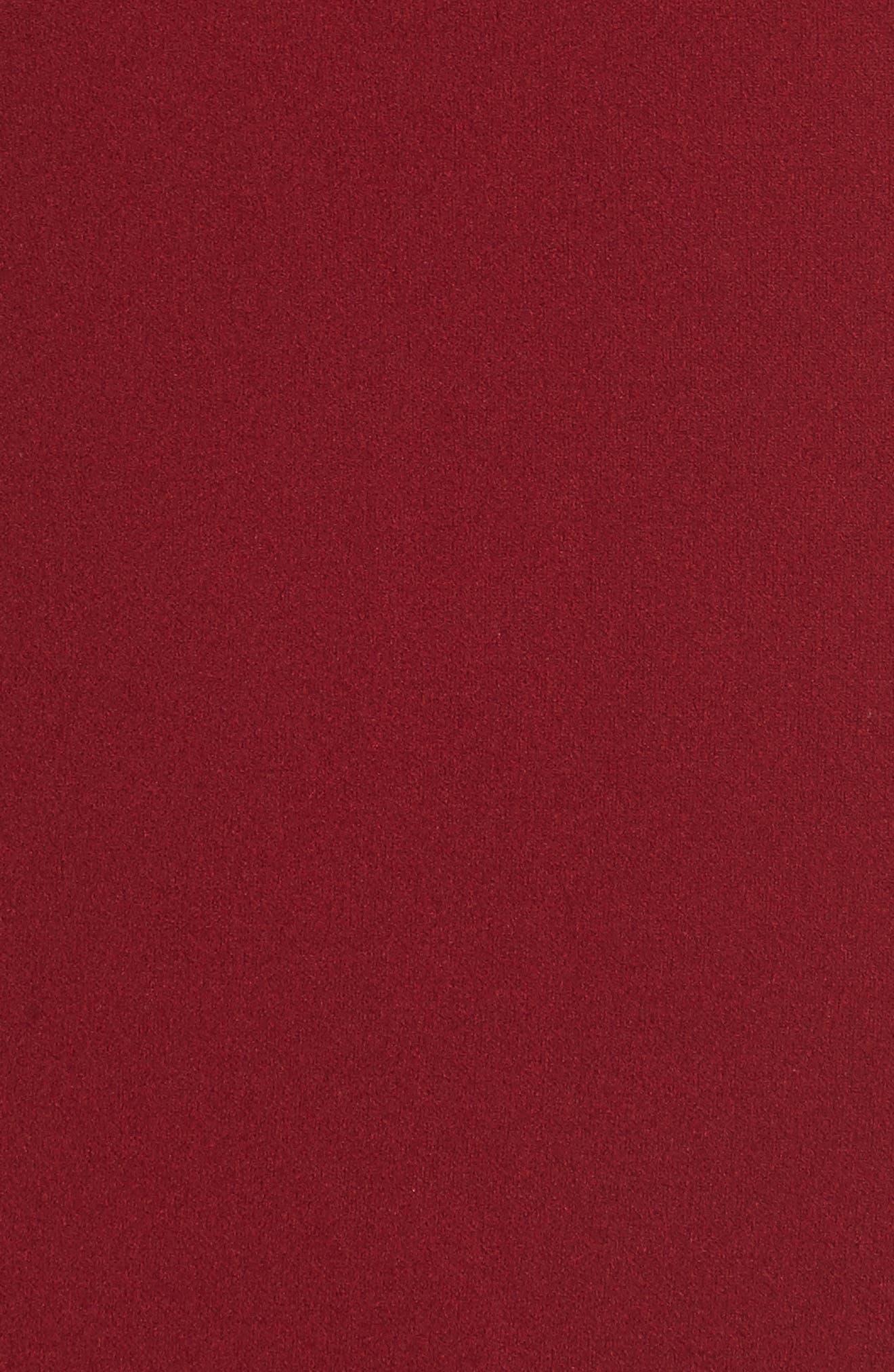Choker Neck Body-Con Dress,                             Alternate thumbnail 5, color,                             Merlot