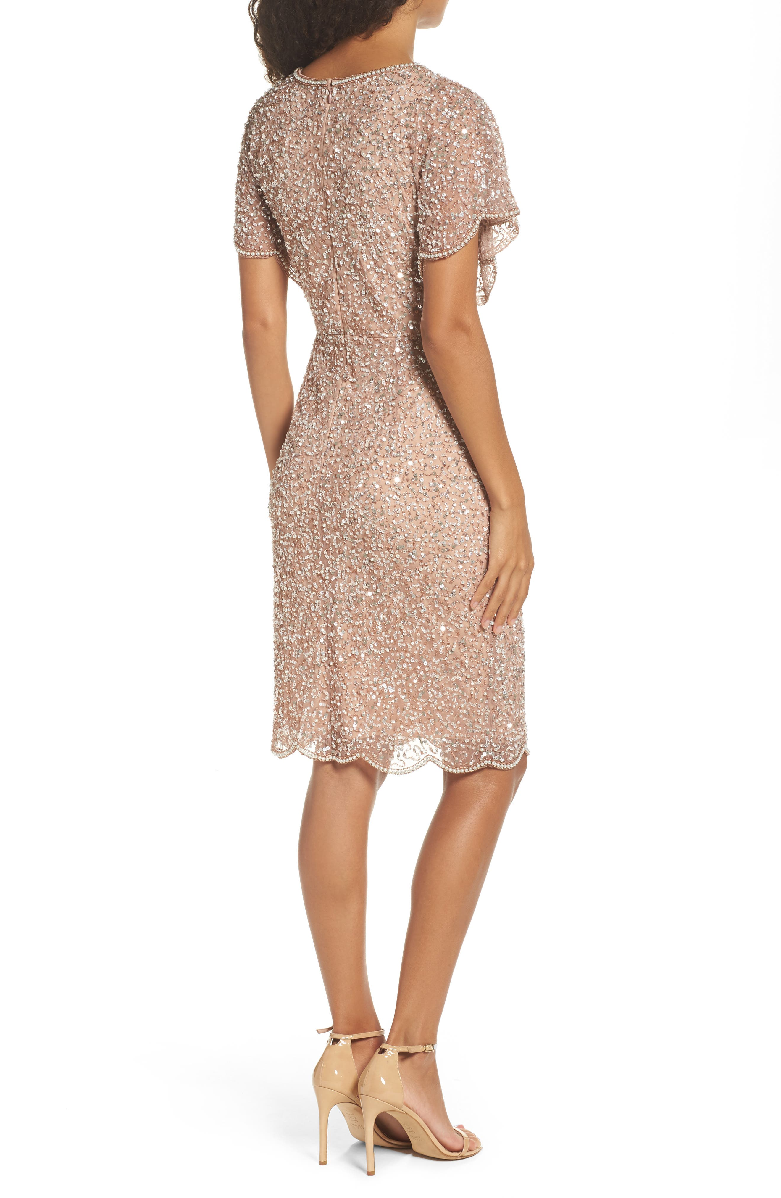 Alternate Image 2  - Adrianna Papell Embellished Flutter Sleeve Cocktail Dress
