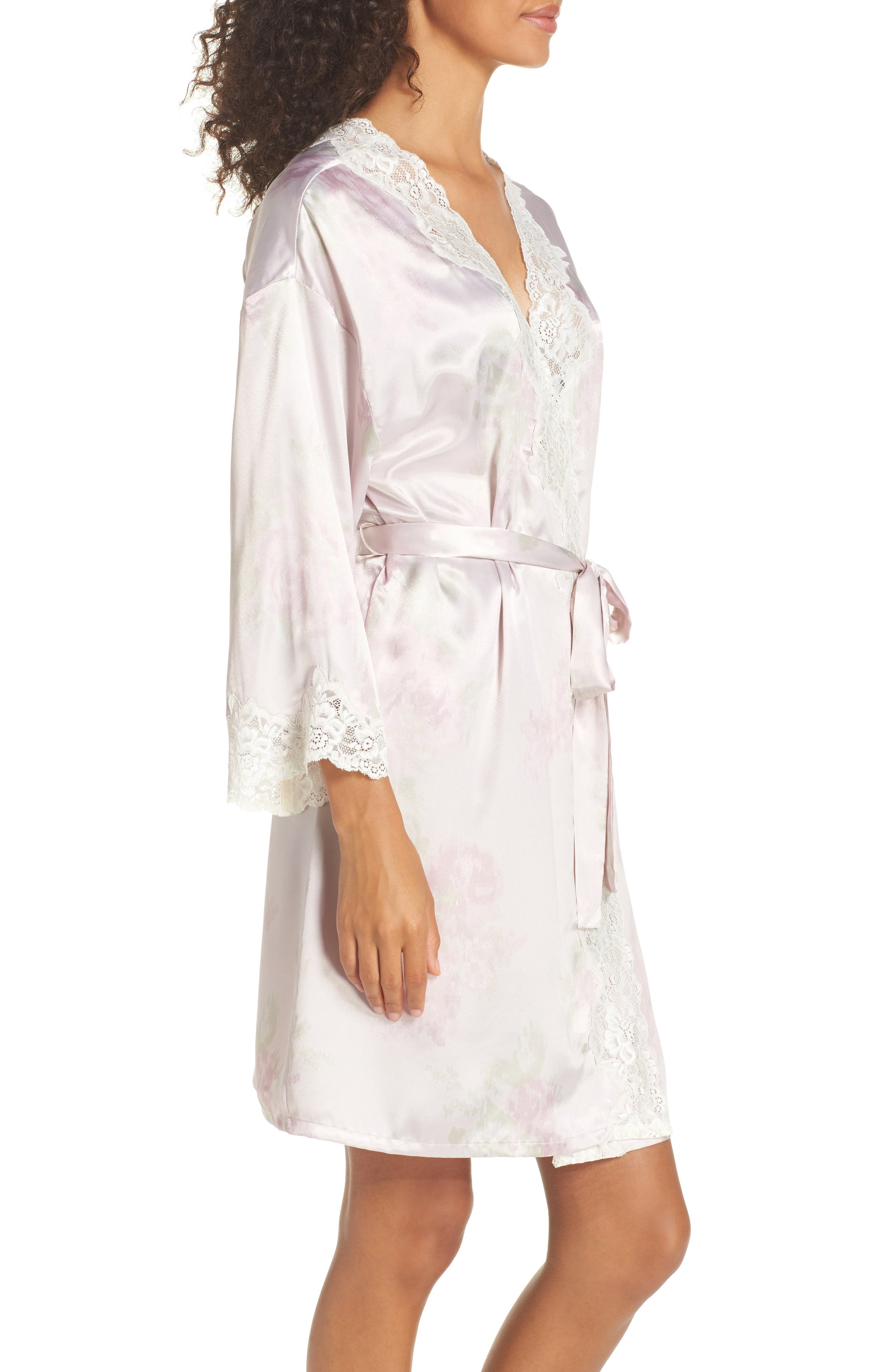 Lace & Satin Robe,                             Alternate thumbnail 3, color,                             Pink Ground Floral