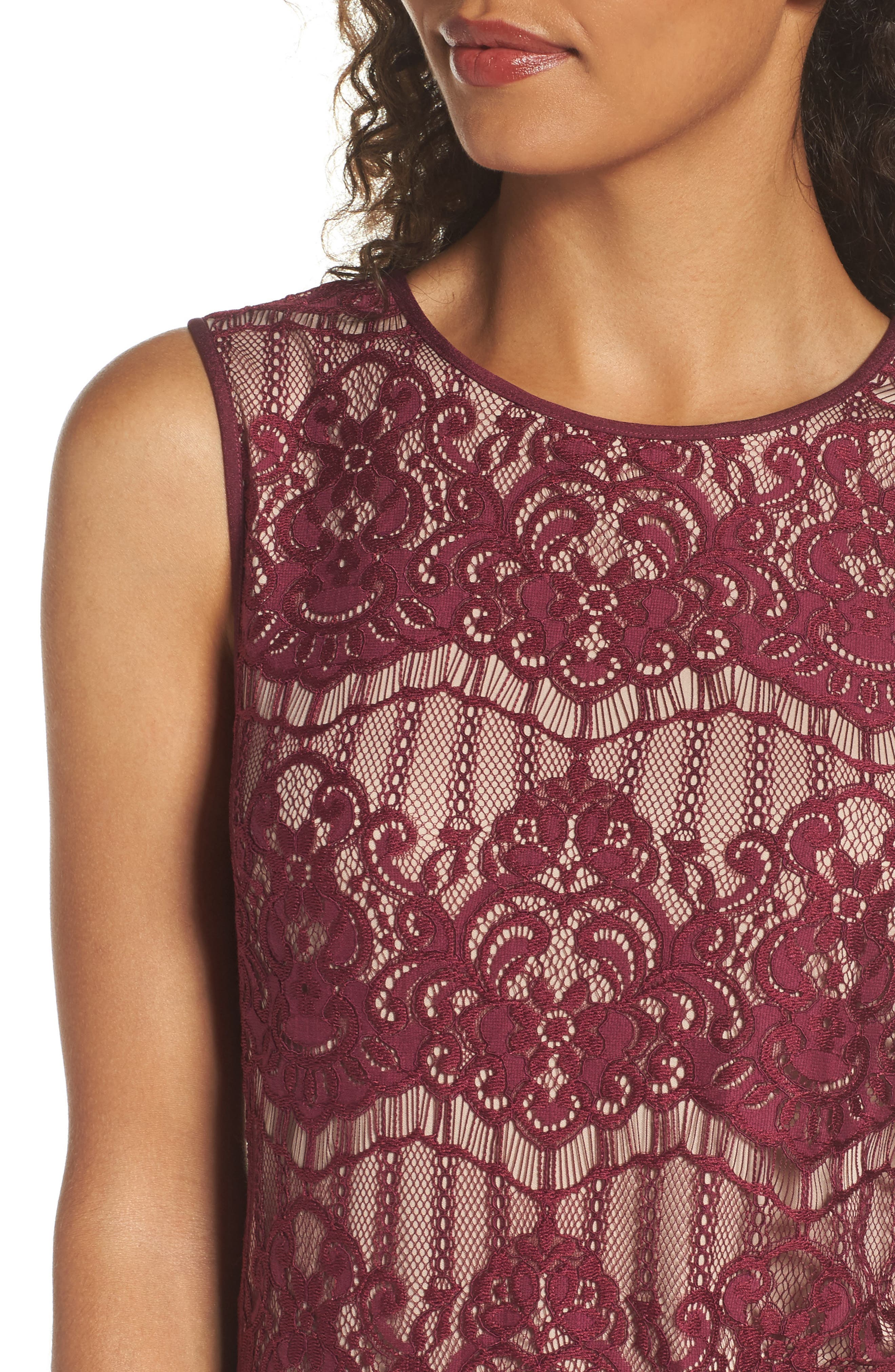 Scalloped Lace Sheath Dress,                             Alternate thumbnail 4, color,                             Burgundy