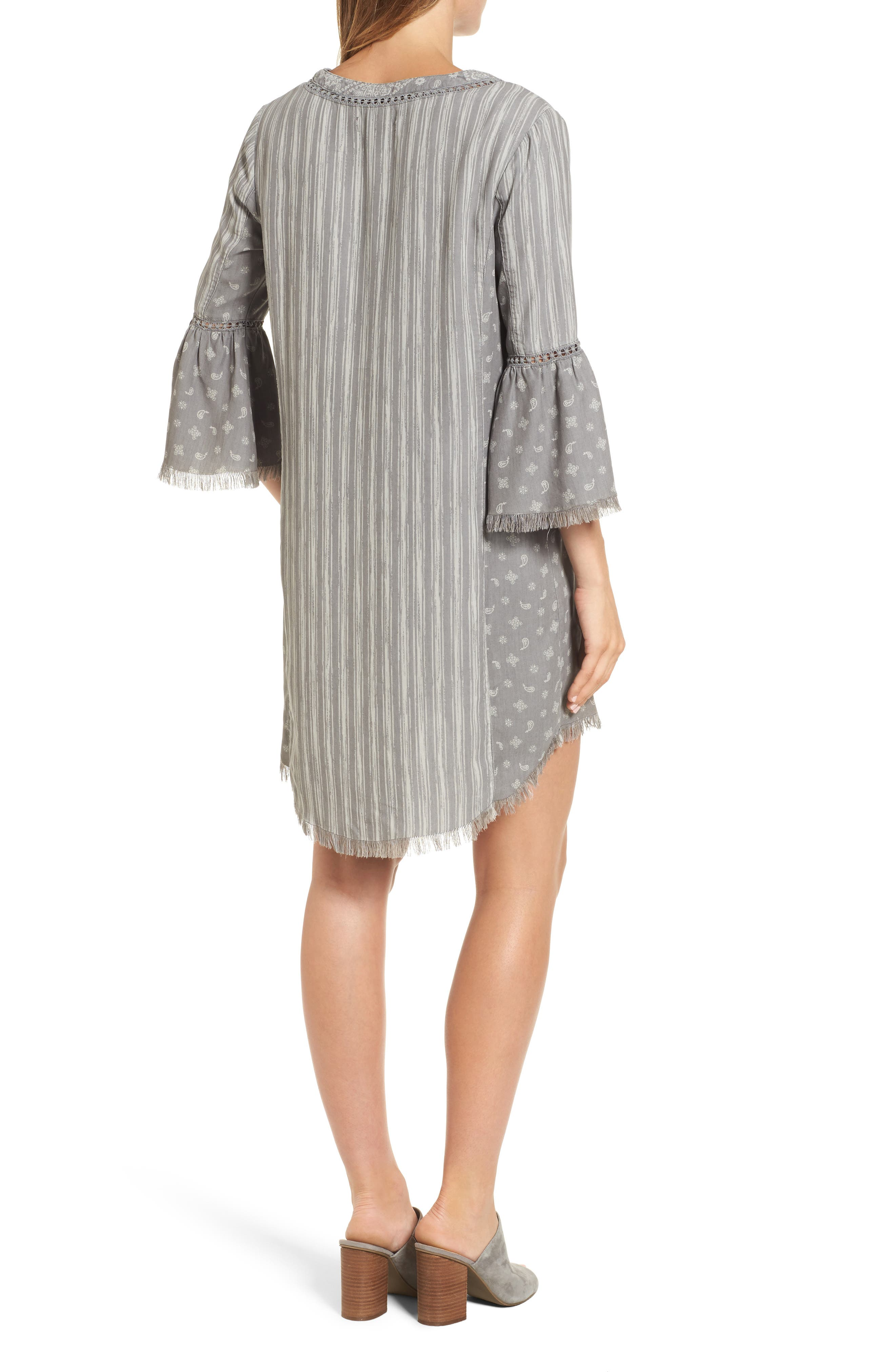 Bell Sleeve Shift Dress,                             Alternate thumbnail 2, color,                             Grey Mix