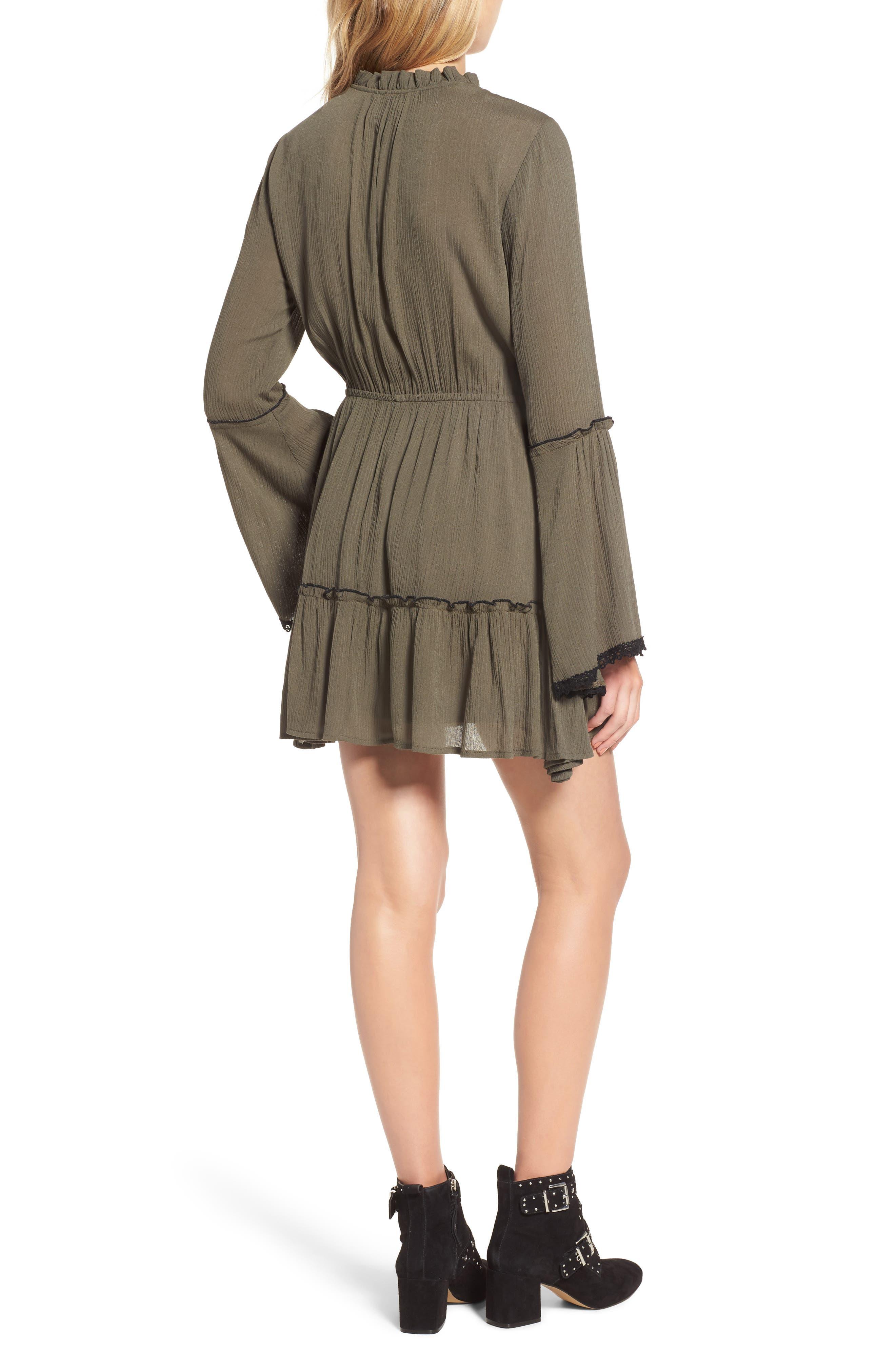 Olivia Bell Sleeve Dress,                             Alternate thumbnail 2, color,                             Olive