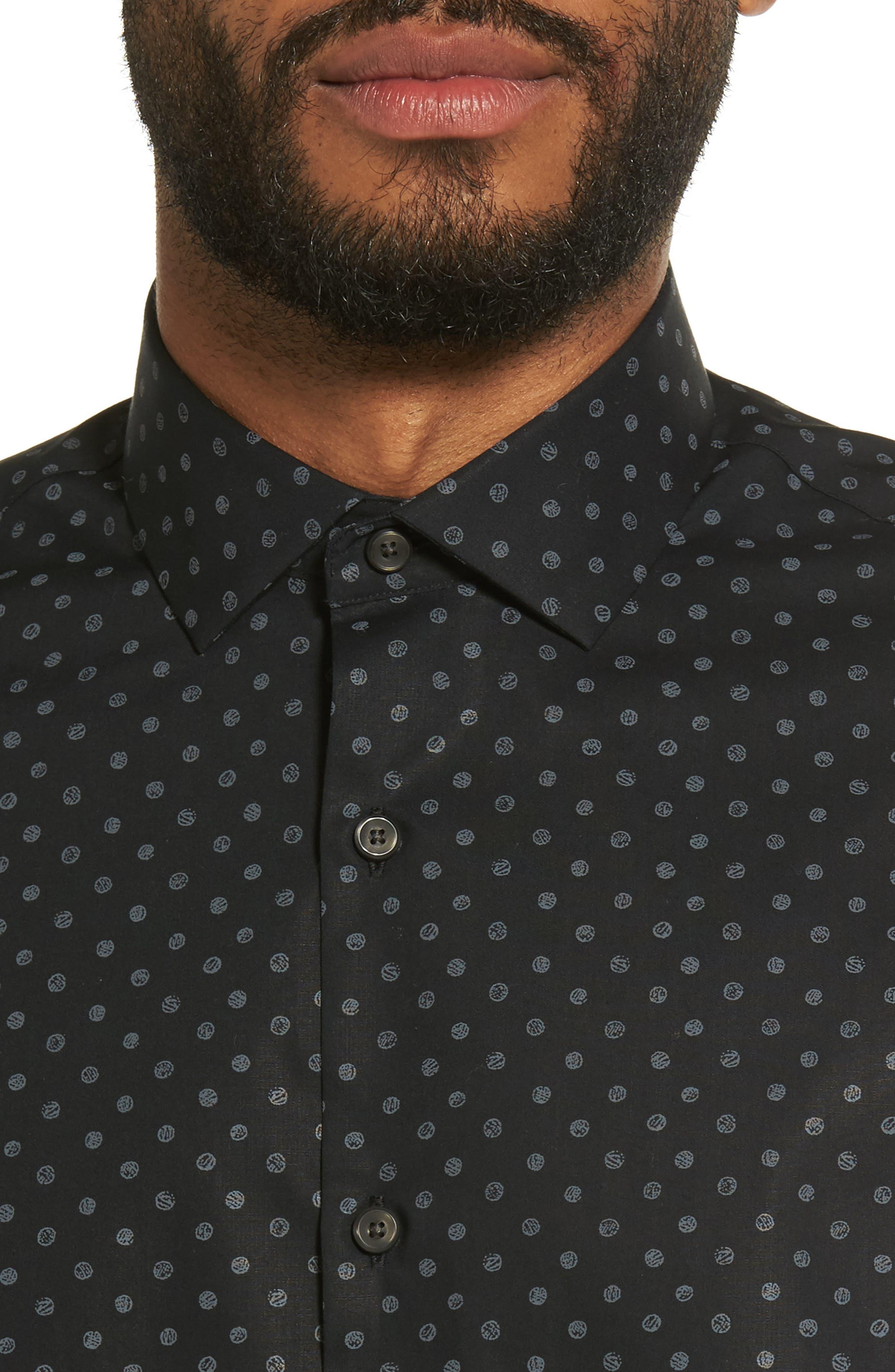 Dot Print Sport Shirt,                             Alternate thumbnail 4, color,                             Black Caviar Grey Dot Print