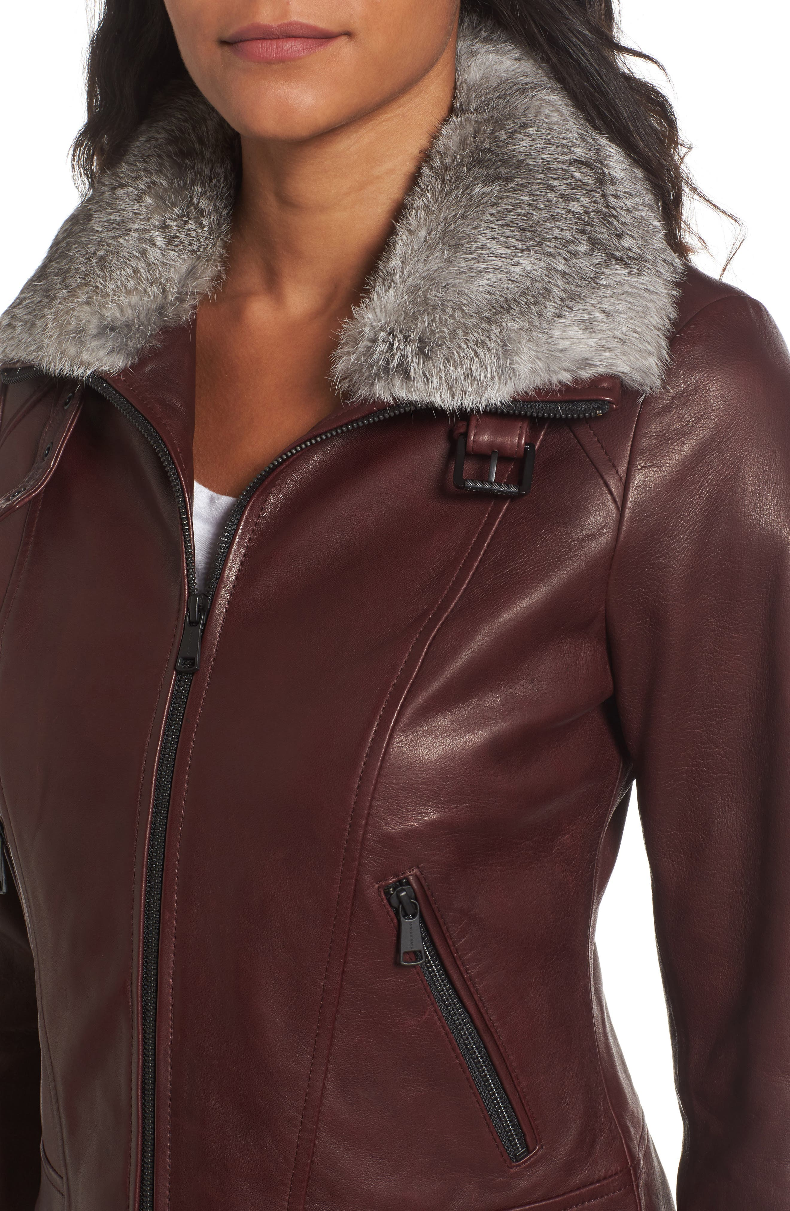 Cambridge Genuine Rabbit Fur & Leather Jacket,                             Alternate thumbnail 4, color,                             Burgundy