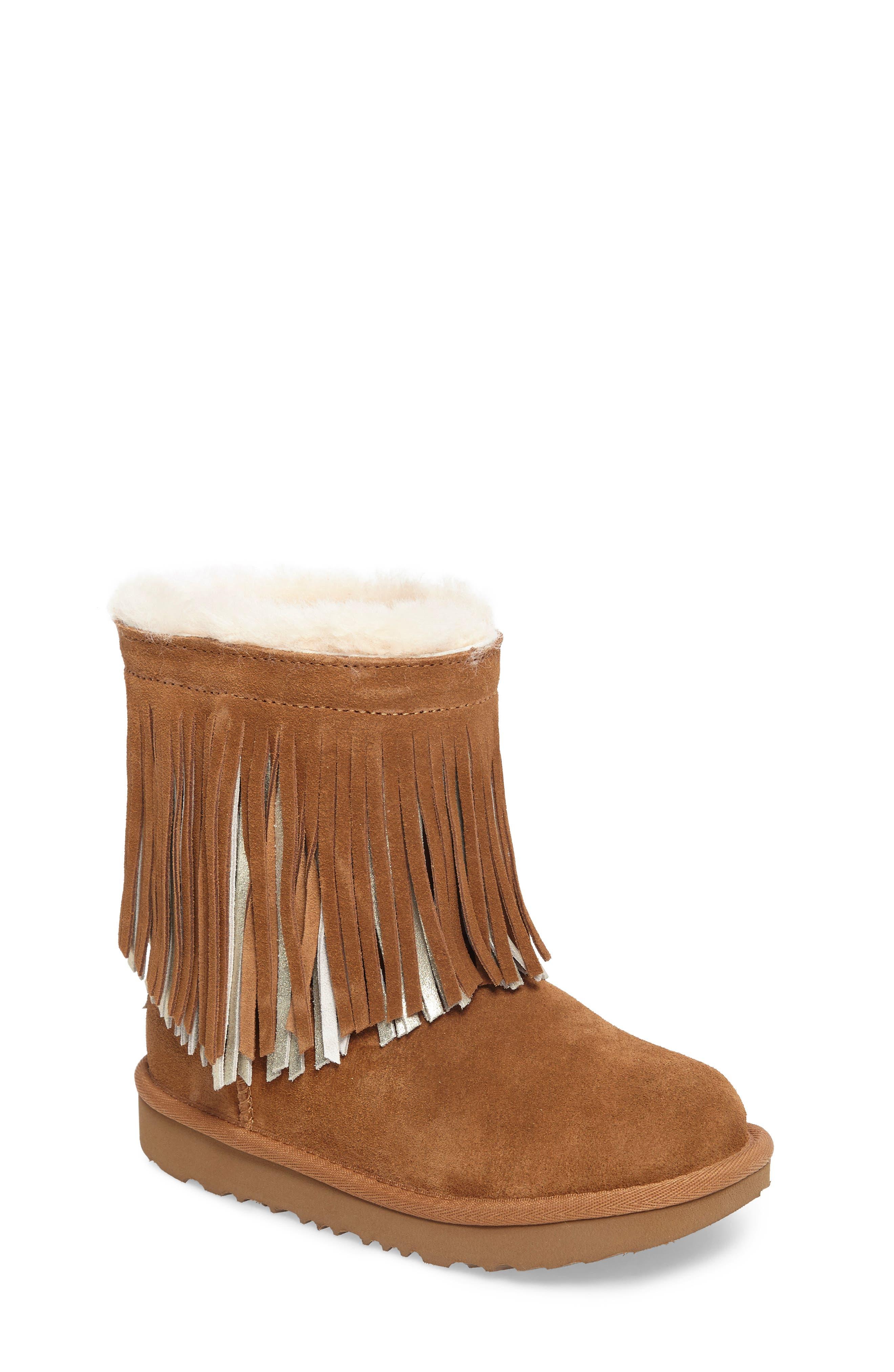 Main Image - UGG® Classic II Short Fringe Water Resistant Genuine Shearling Boot (Walker, Toddler, Little Kid & Big Kid)
