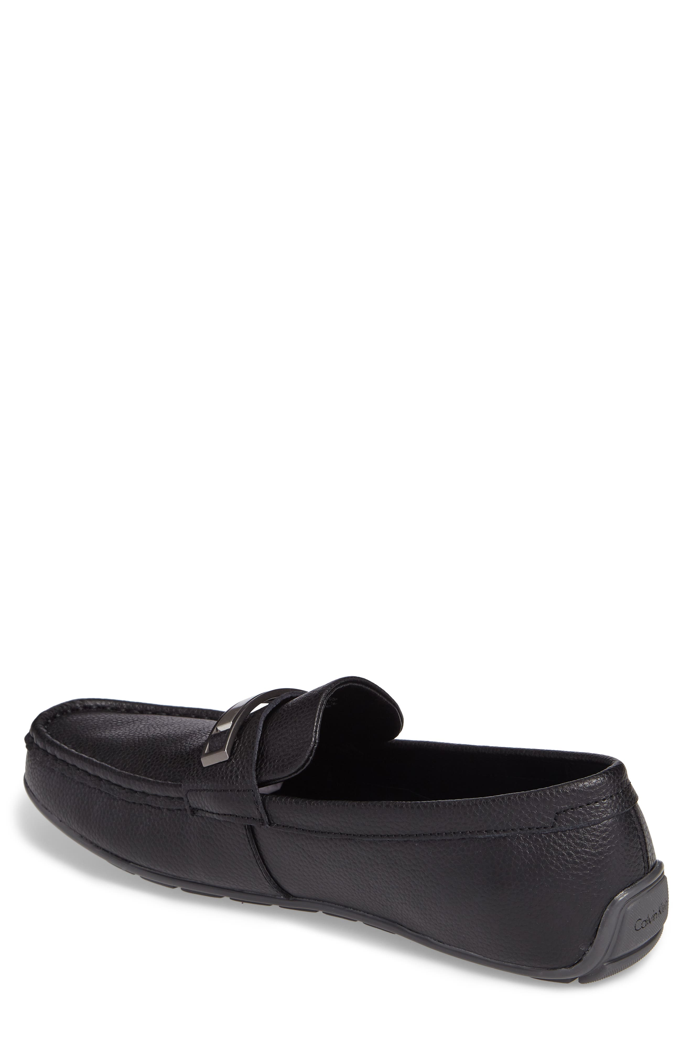 Irving Driving Loafer,                             Alternate thumbnail 2, color,                             Black Tumbled Leather