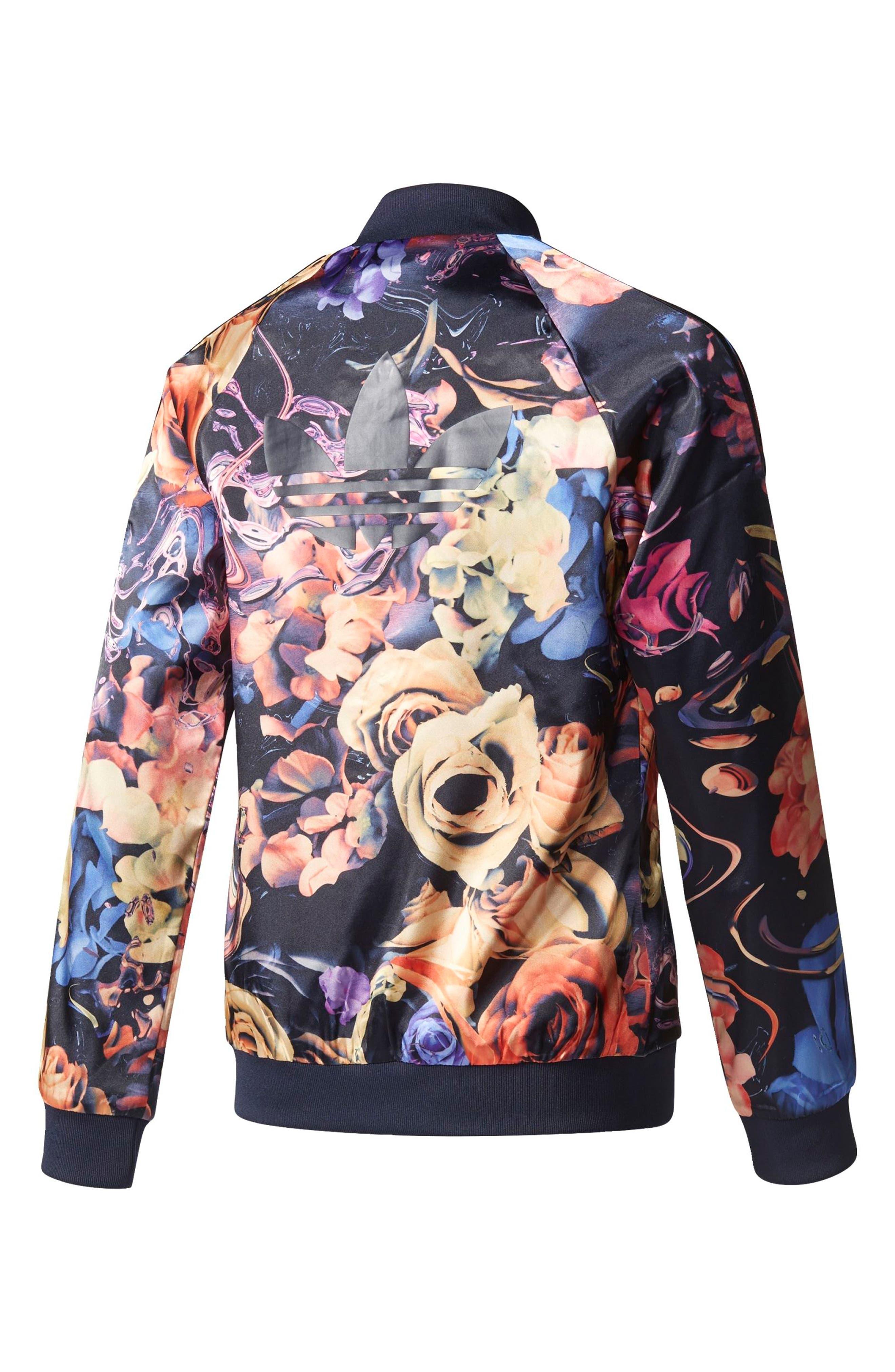 Alternate Image 2  - adidas Originals Rose Print Superstar Jacket (Big Girls)