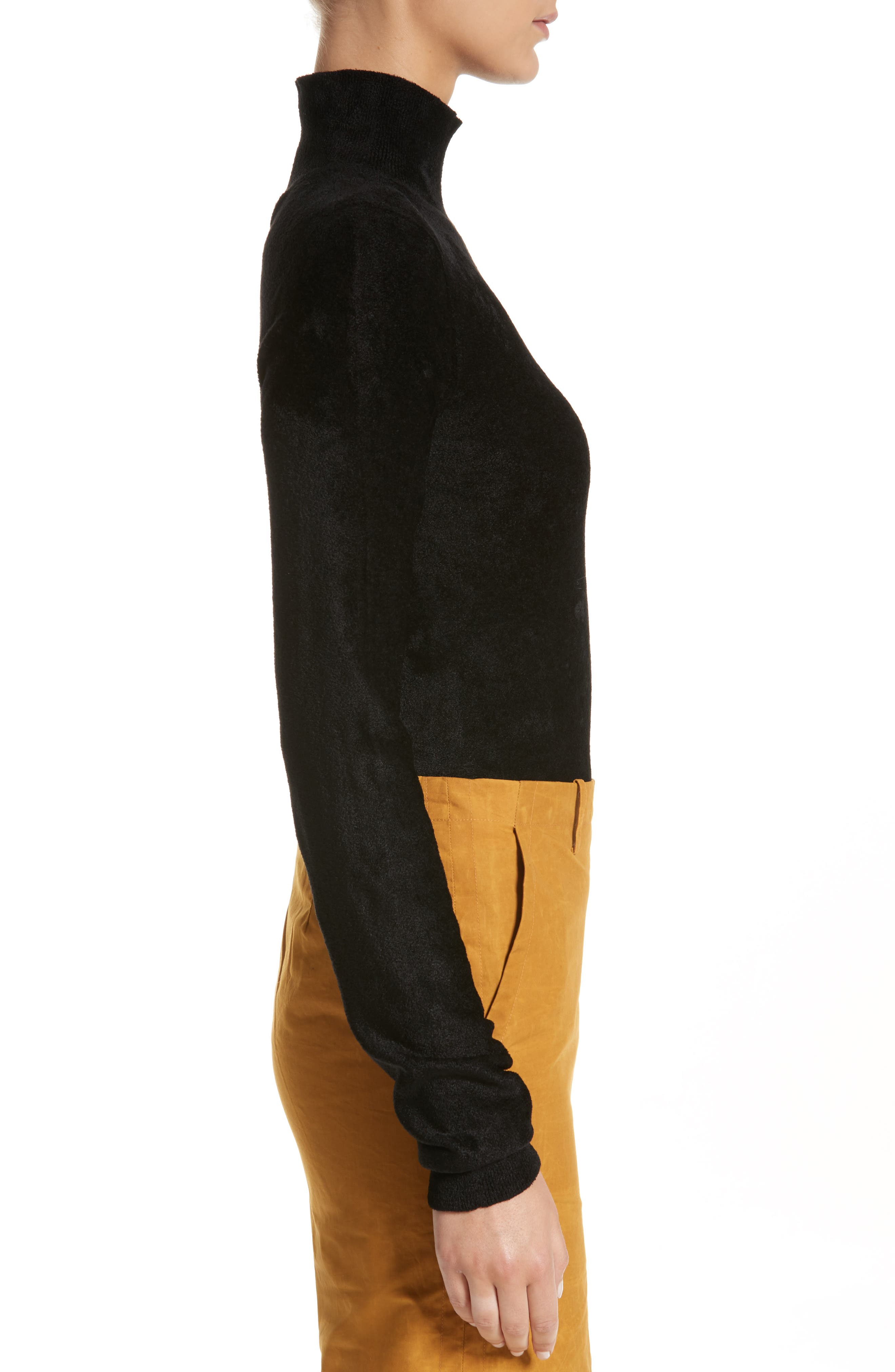 Chenille Turtleneck Sweater,                             Alternate thumbnail 3, color,                             00N99 Black