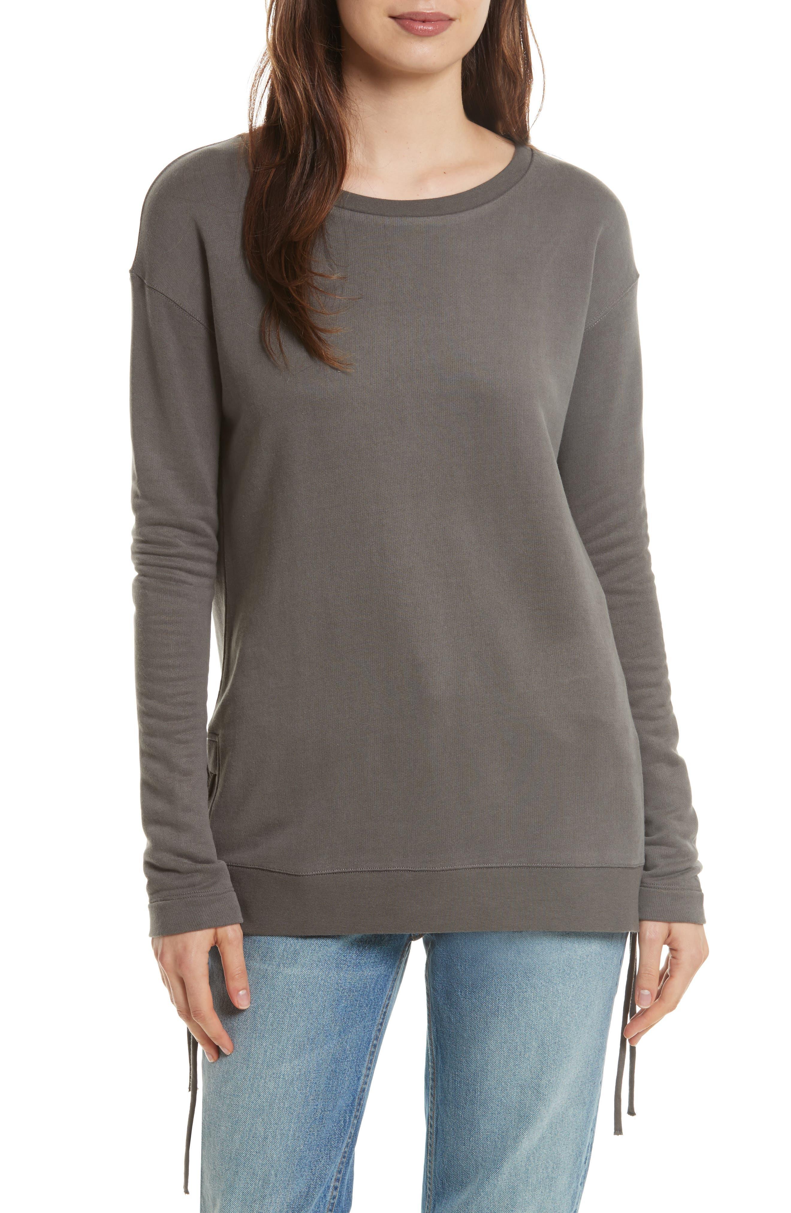 Lace Up Sweater,                         Main,                         color, Caviar