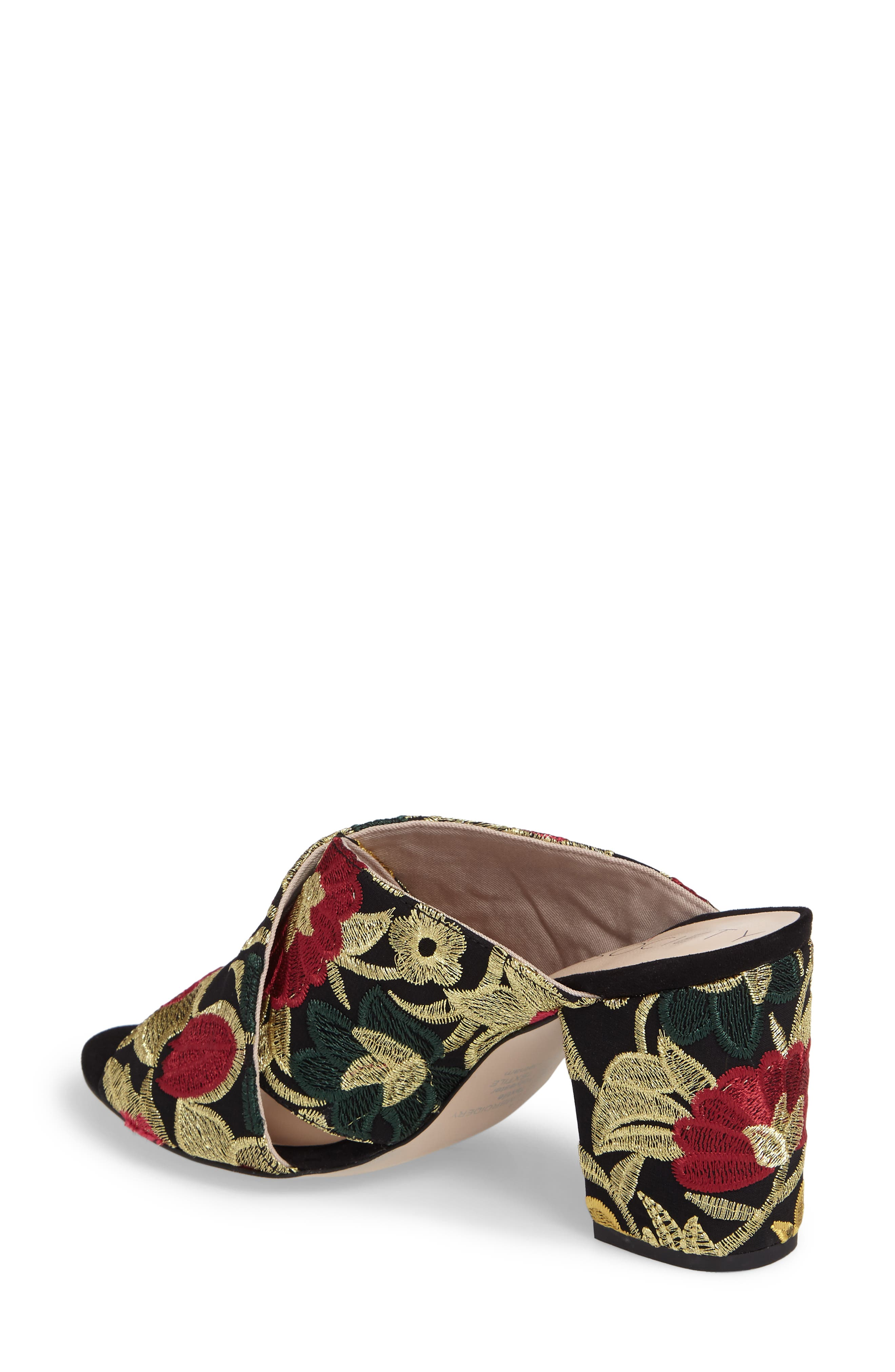 Luella Flower Embroidered Slide,                             Alternate thumbnail 2, color,                             Gold Embroidery Textile
