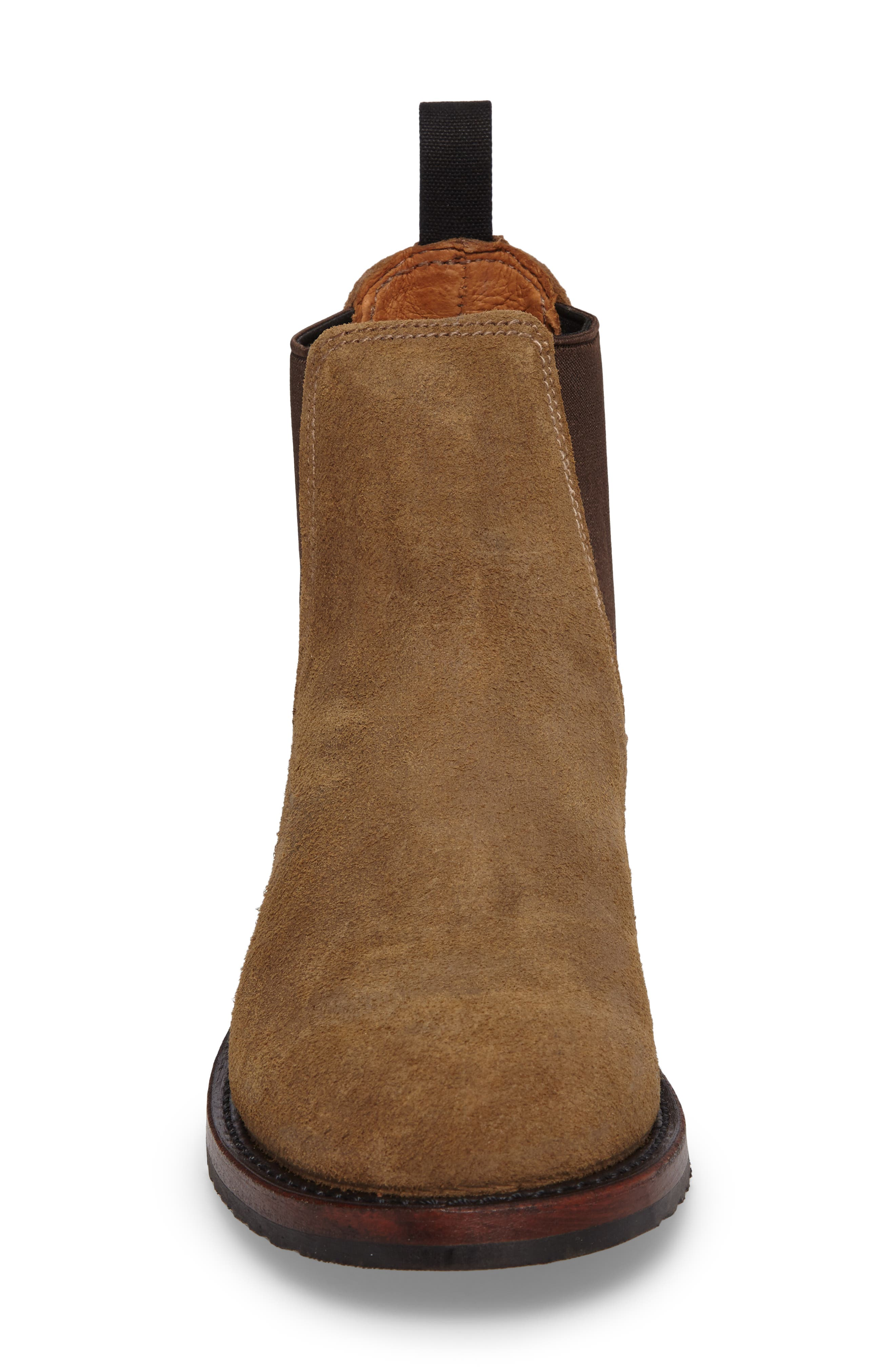 Logan Chelsea Boot,                             Alternate thumbnail 4, color,                             Chestnut Waxed Suede